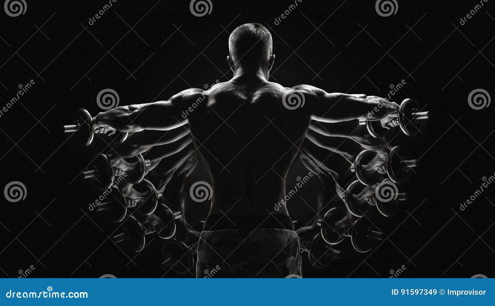 Black And White Concept Bodybuilder Turning Back Raising