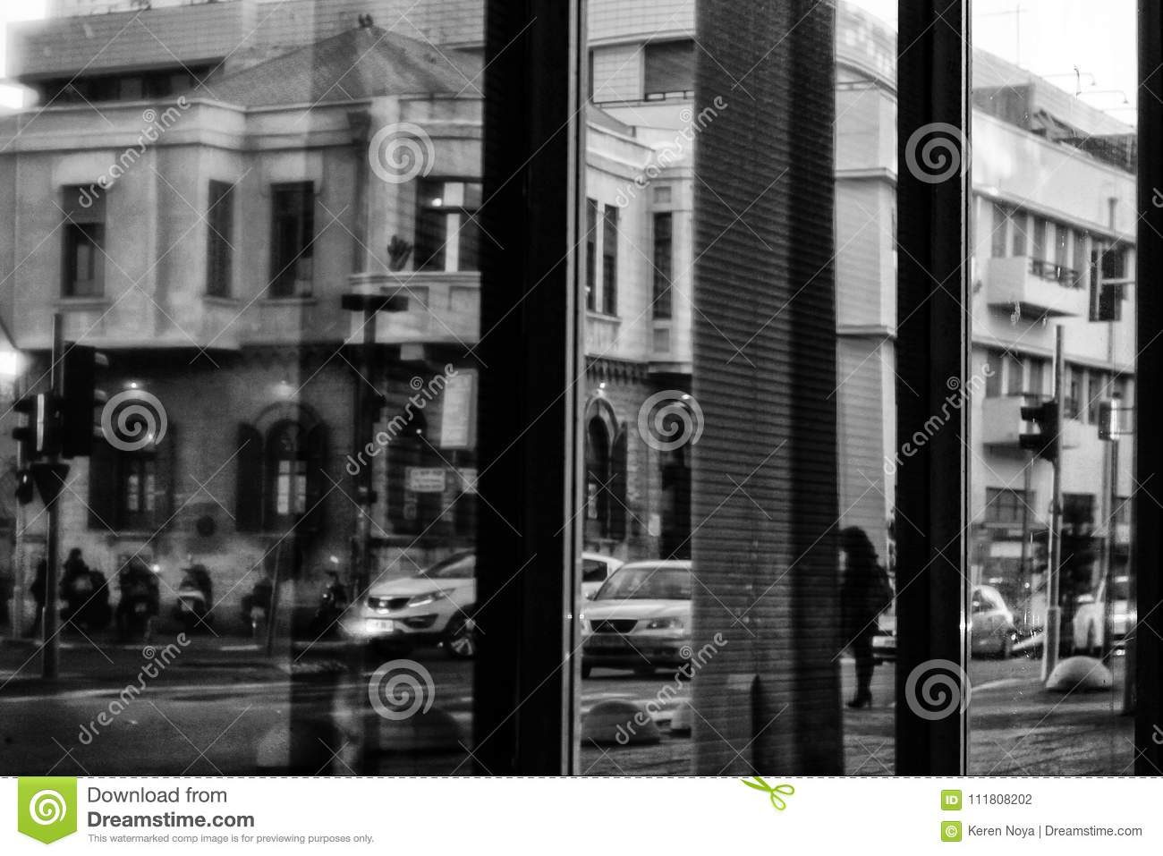 A black and white conceptual urban pattern stock photo image of