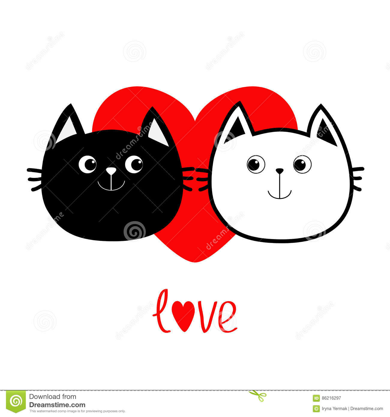 Black White contour Cat head couple family icon. Red heart. Cute funny cartoon character. Word love Valentines day Greeting card.