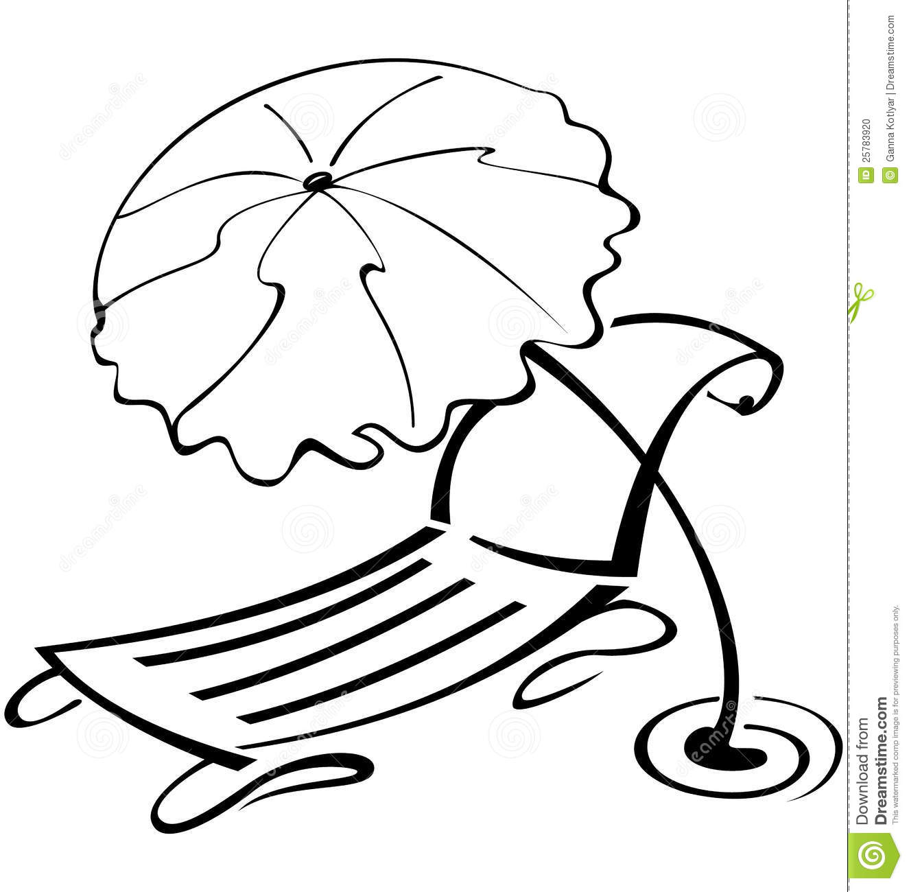 Chair beach umbrella and chair black and white - Black And White Contour Umbrella And Beach Chair Stock Photo
