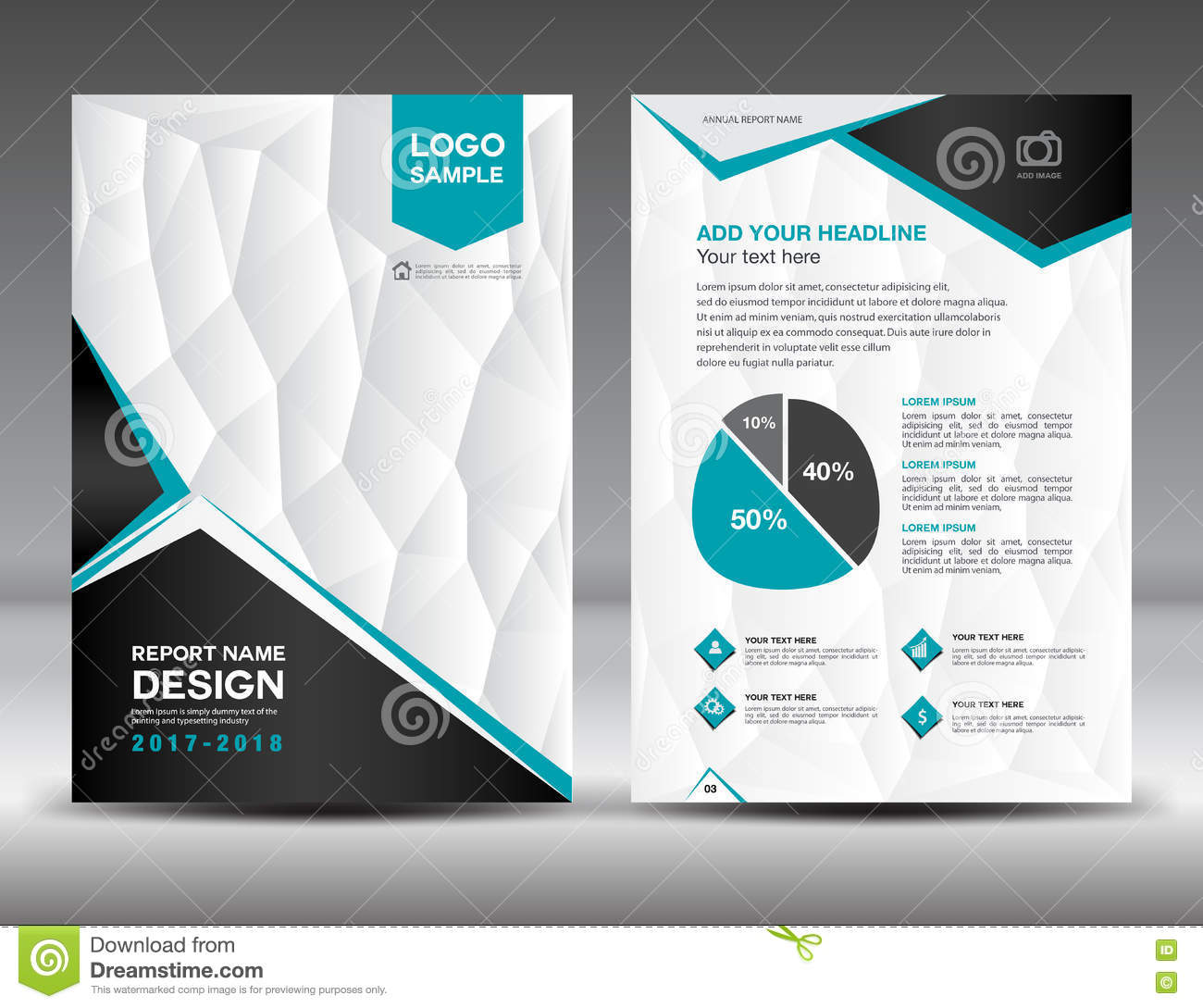 Black And White Cover Annual Report Brochure Flyer Template Stock - Black and white flyer template free