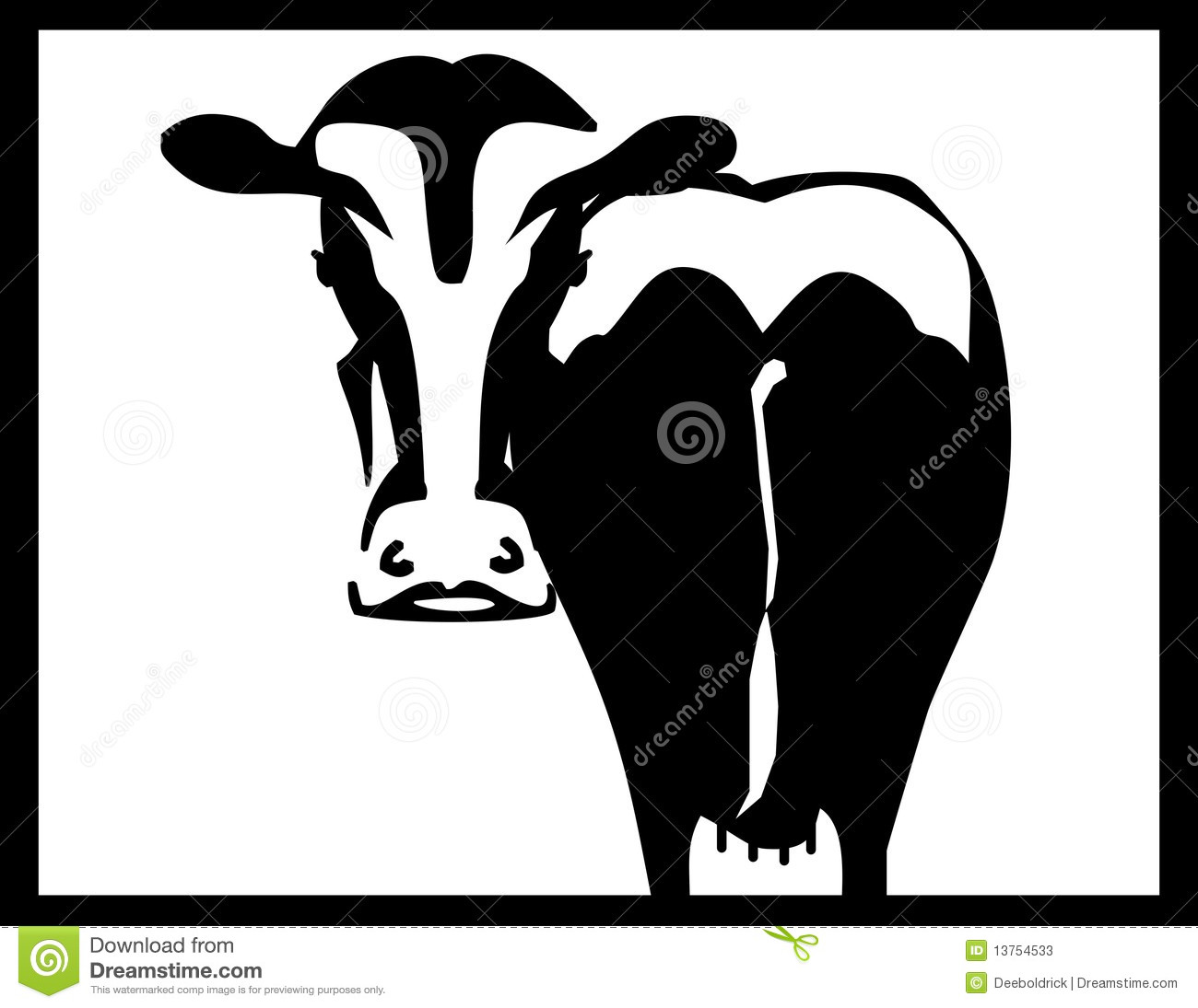 Black and white cow silhouette with black border.