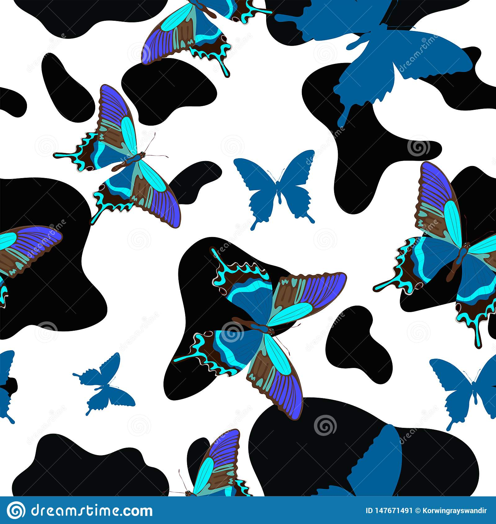 Black and white cowhide combined with blue butterflies, seamless pattern. Vector background