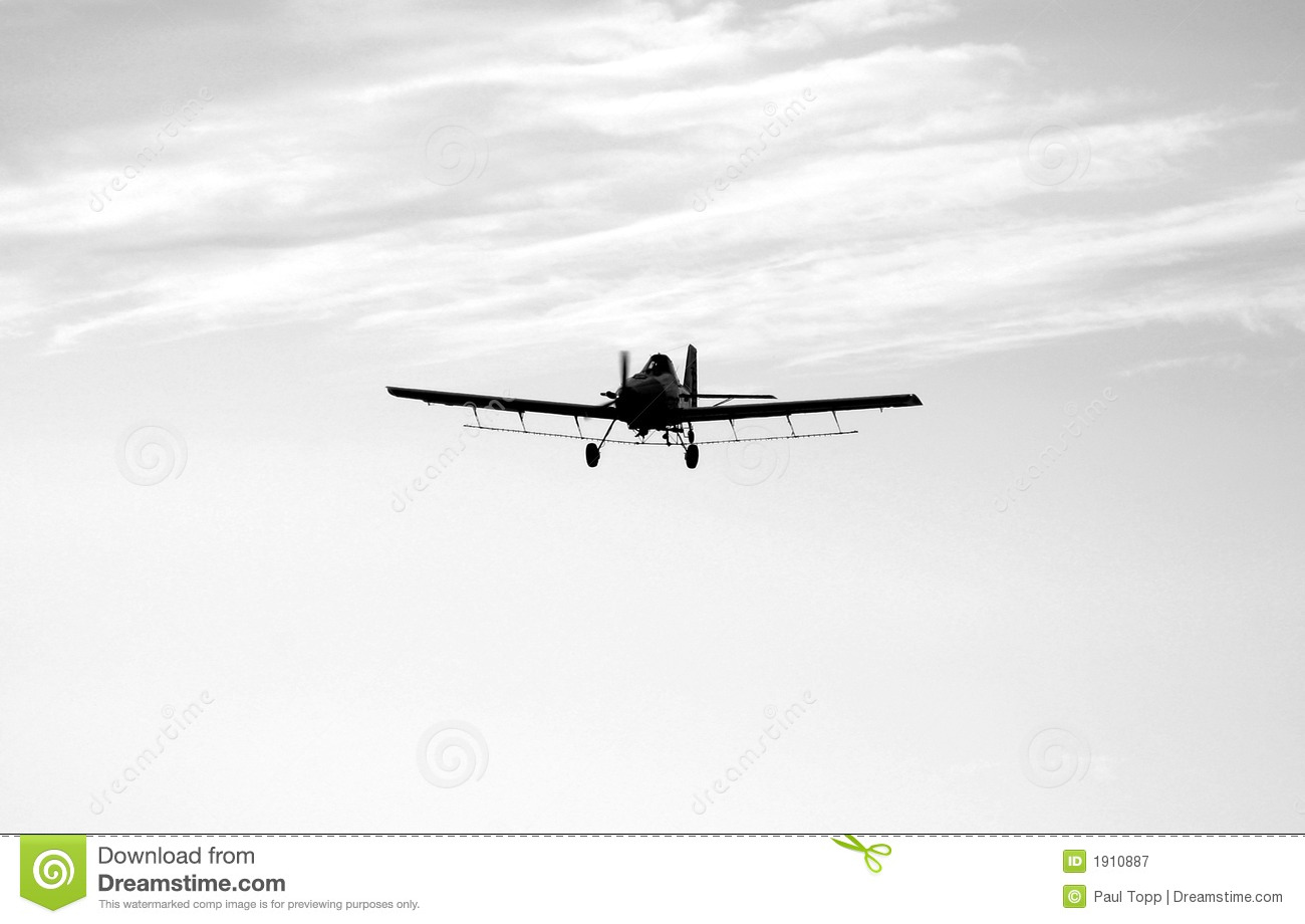 Black And White Crop Duster Airplane Royalty Free Stock