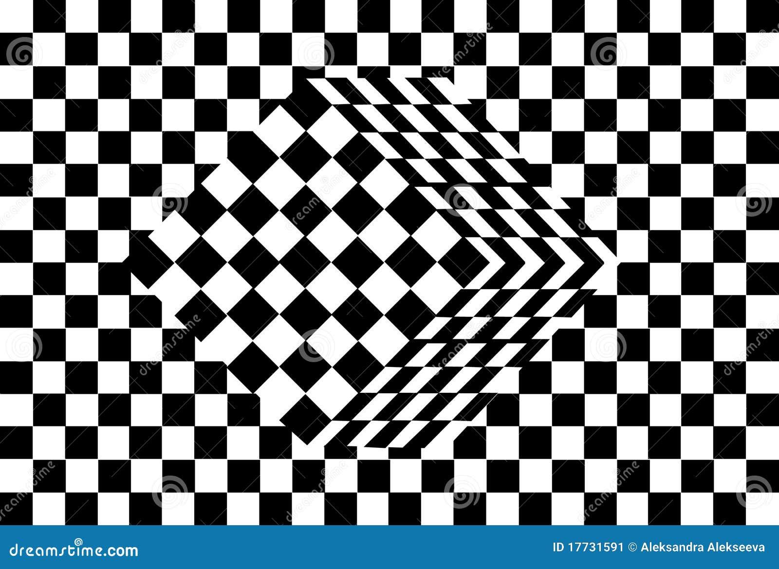 black and white cube optical illusion stock image