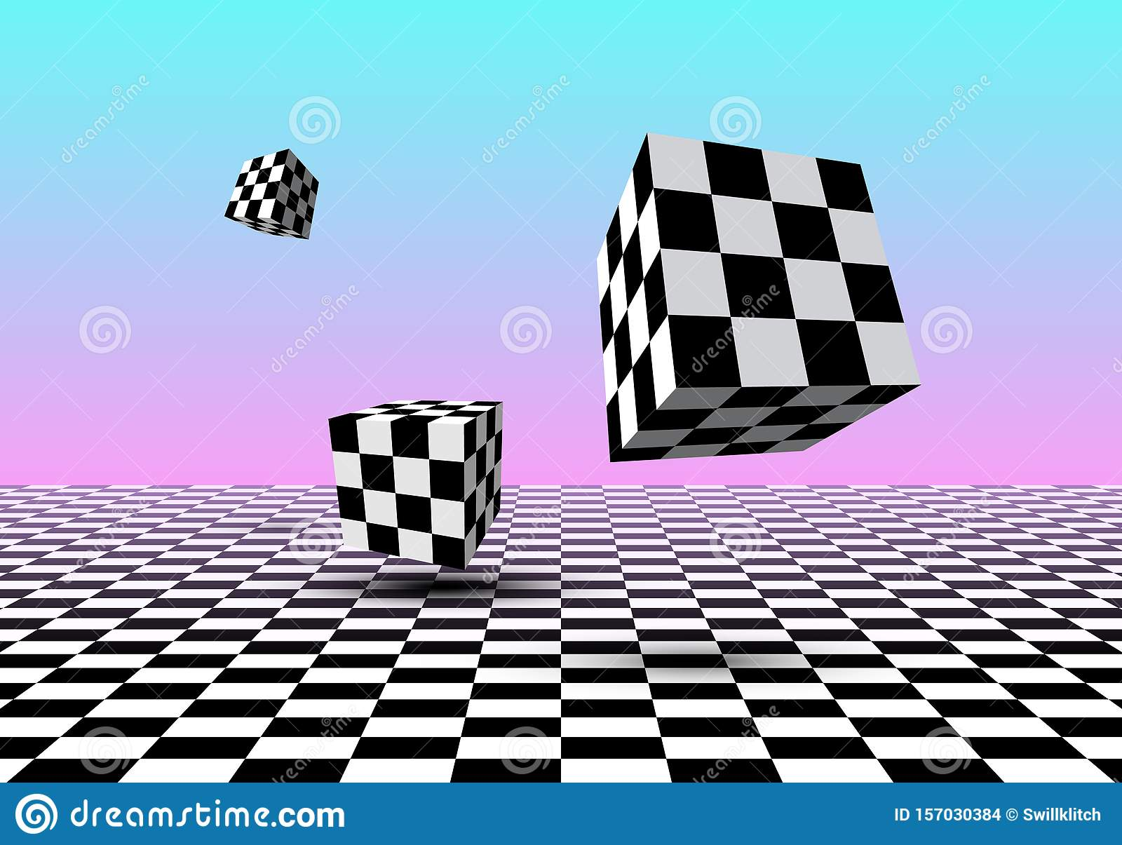 Black And White Cubes Flying Over Checkered Floor With Pink And