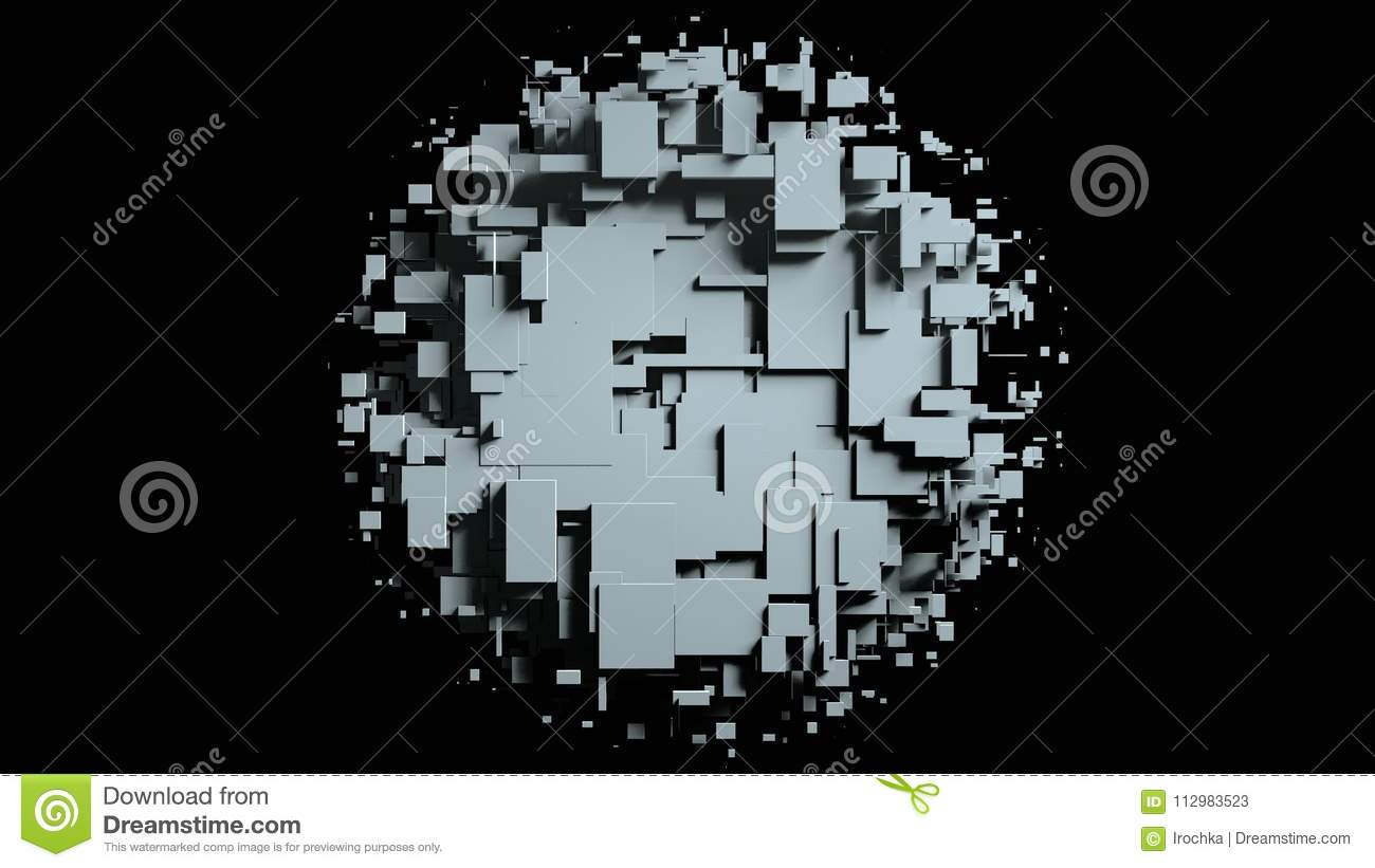 Black and white cubes screen wipe transition . Black background