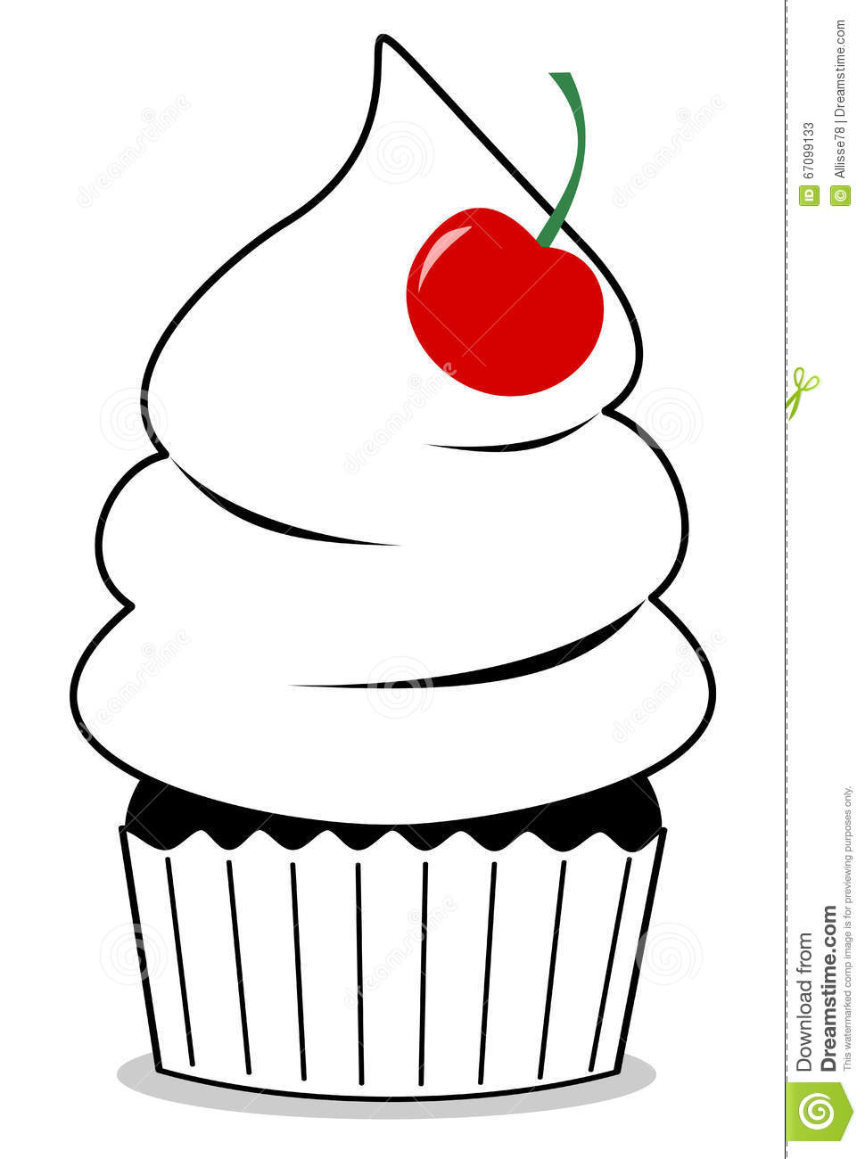Black And White Cupcake With Red Cherry Cute Cartoon