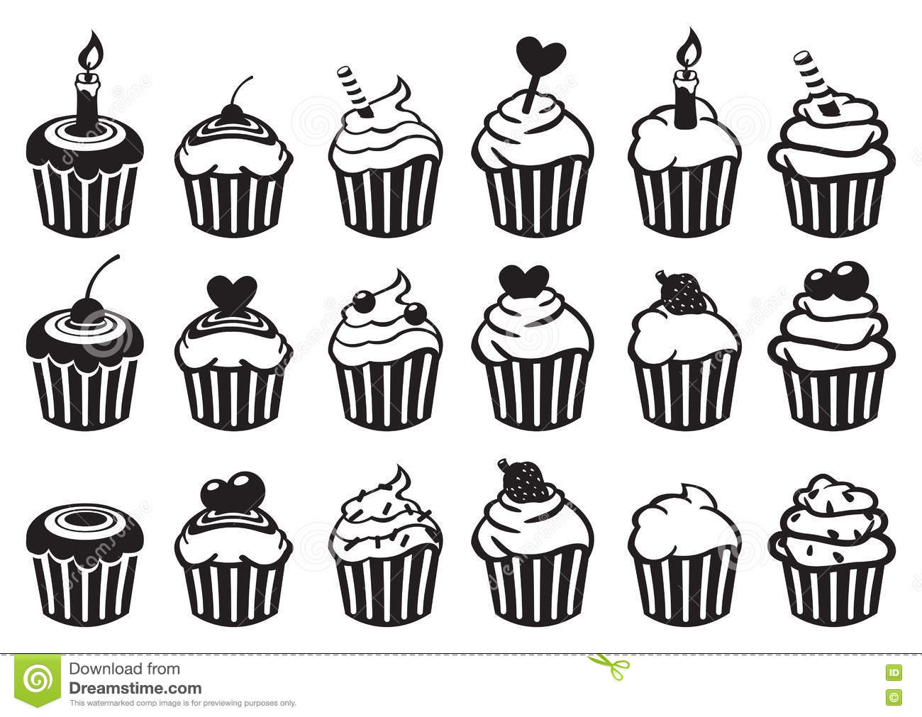 Black and White Cupcake Vector Icon Set