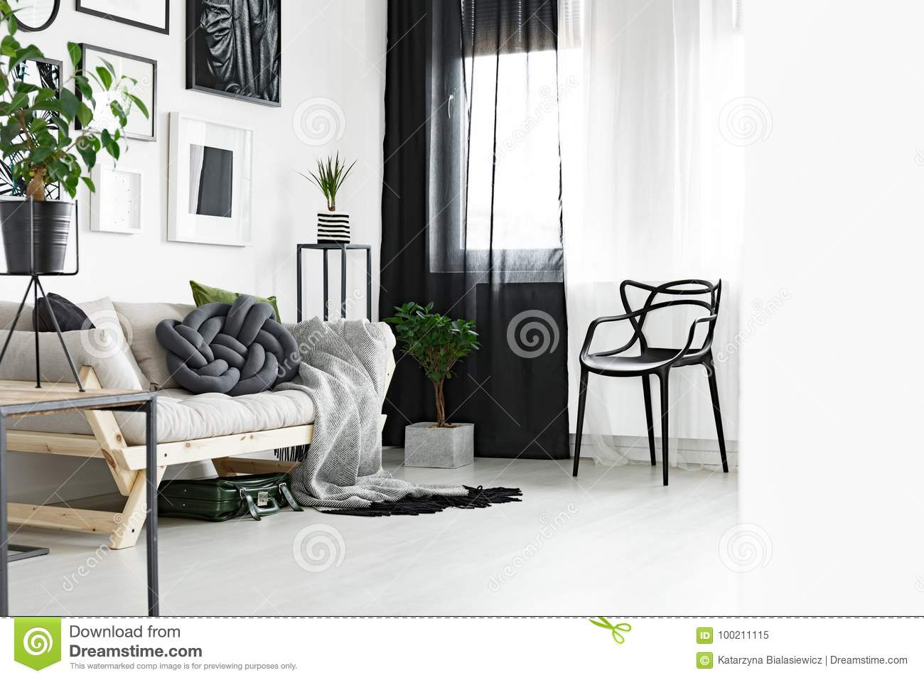 Black and white curtains stock image. Image of living ...