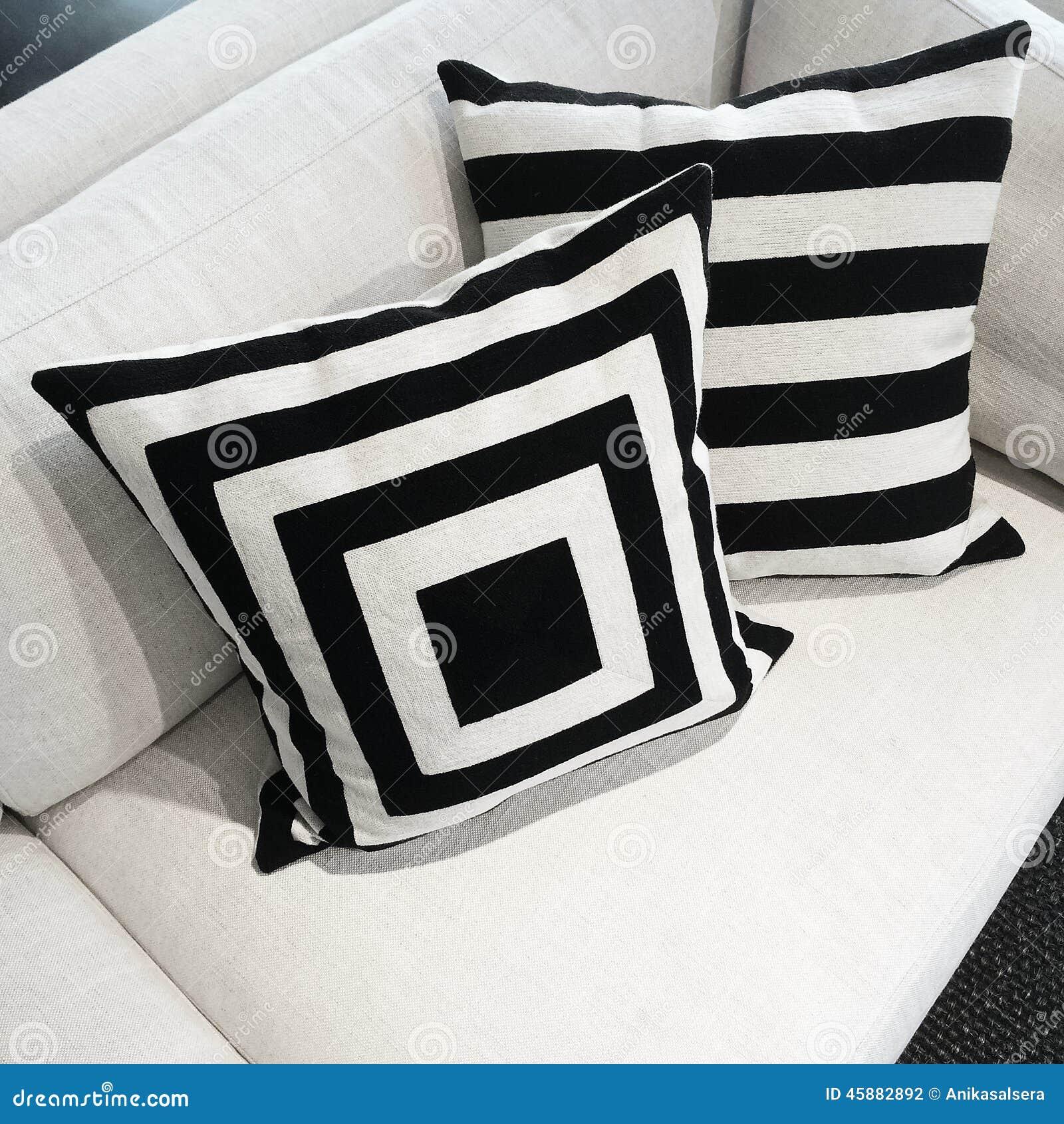 Black And White Cushions A Sofa Stock Image