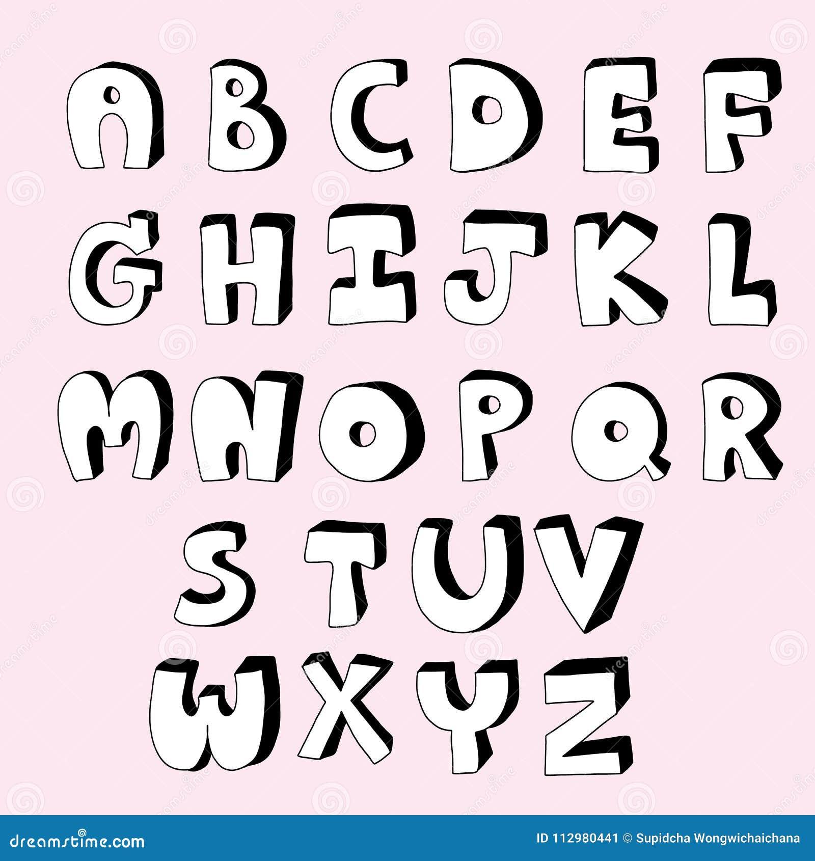 Black and white cute alphabet