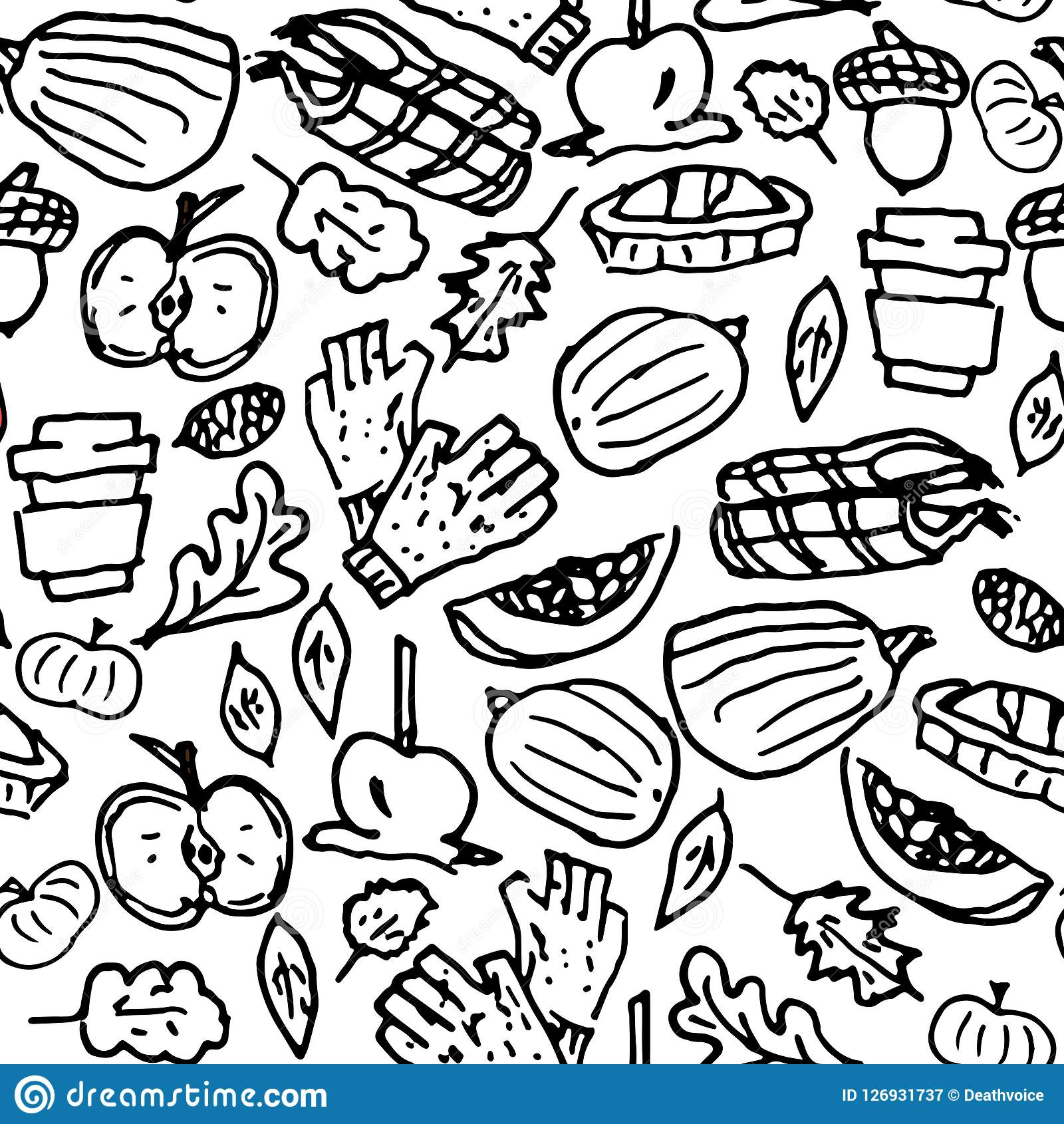 Black And White Cute Doodle Seamless Pattern Childish Style
