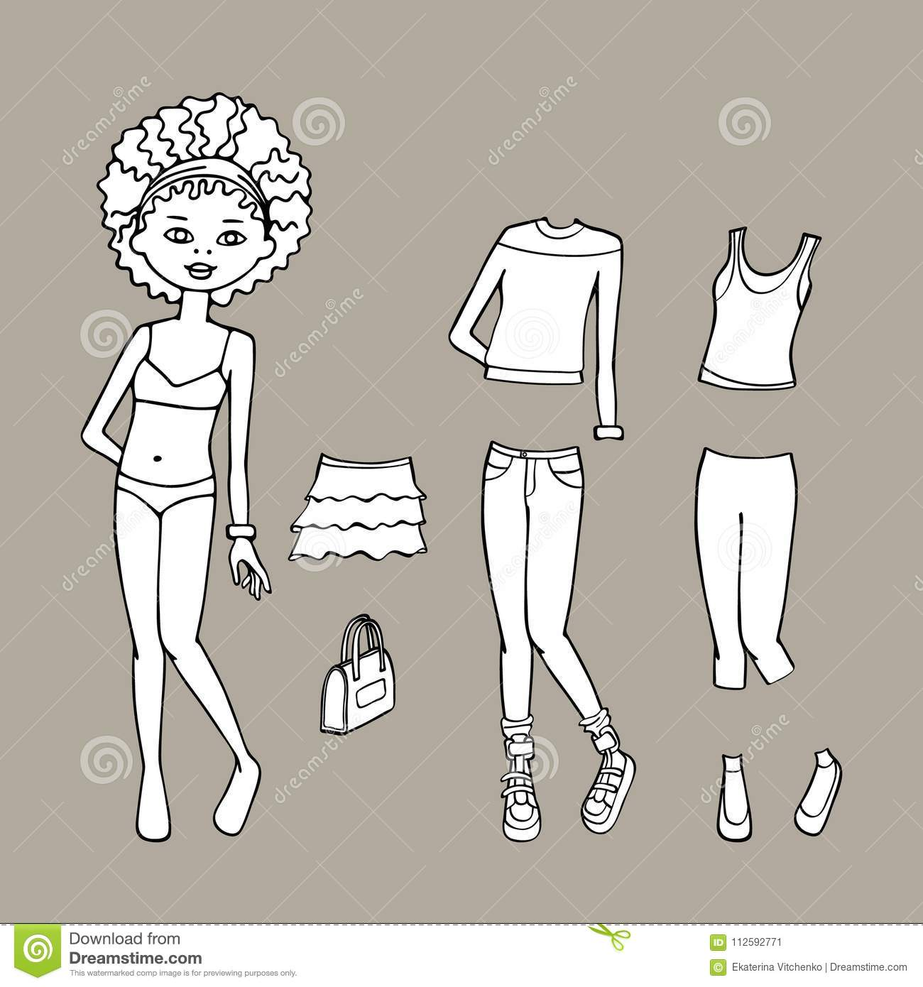 Black & White Cute Dress Up Paper Doll. Body Template, Clothing And ...