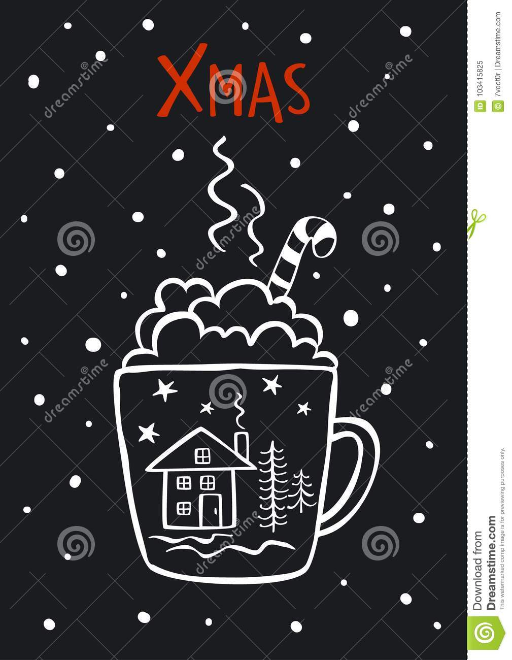 Black And White Cute Merry Christmas Xmas Winter New Years Greeting