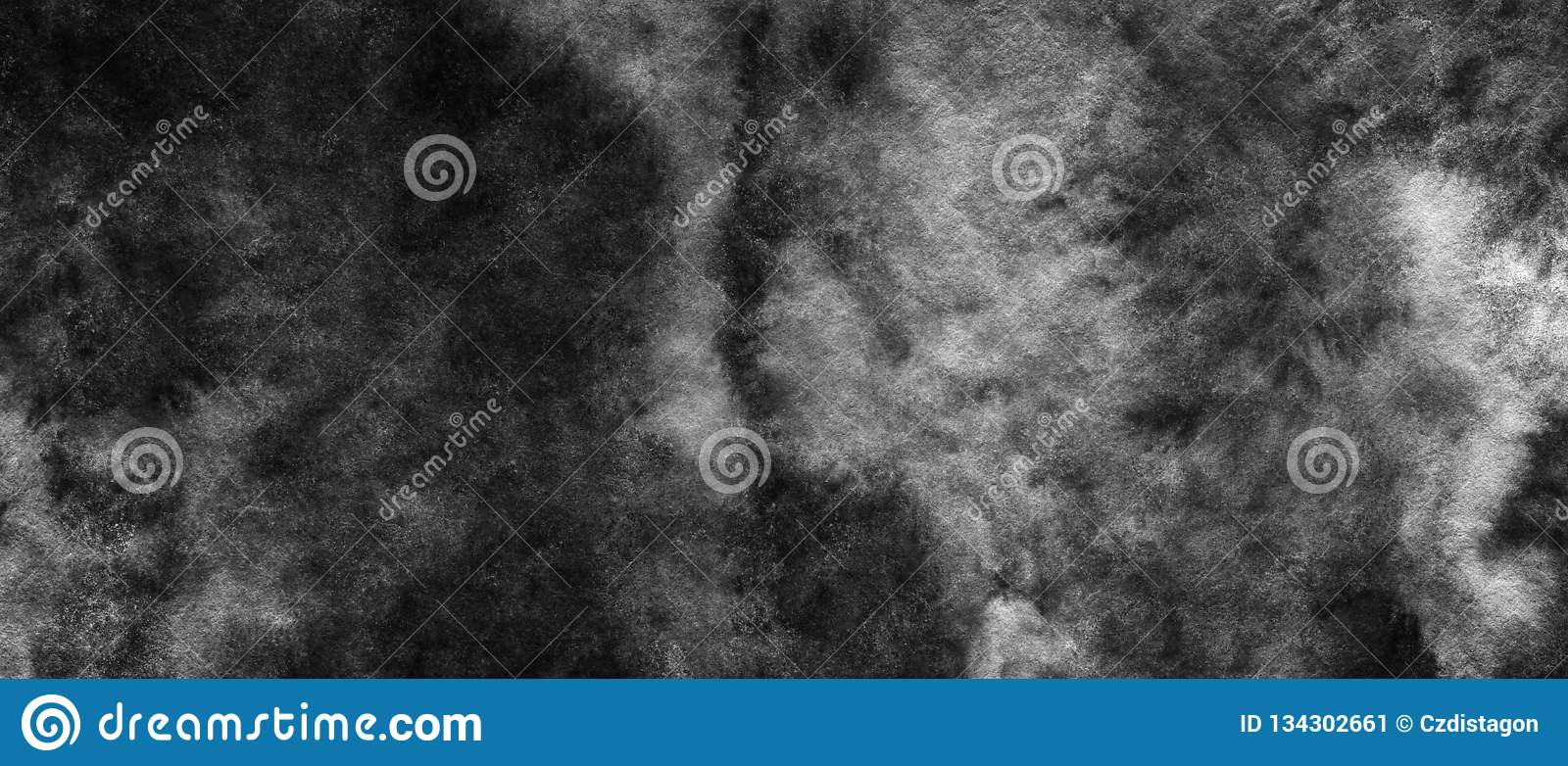 Black And White Dark Abstract Watercolor Background For Textures