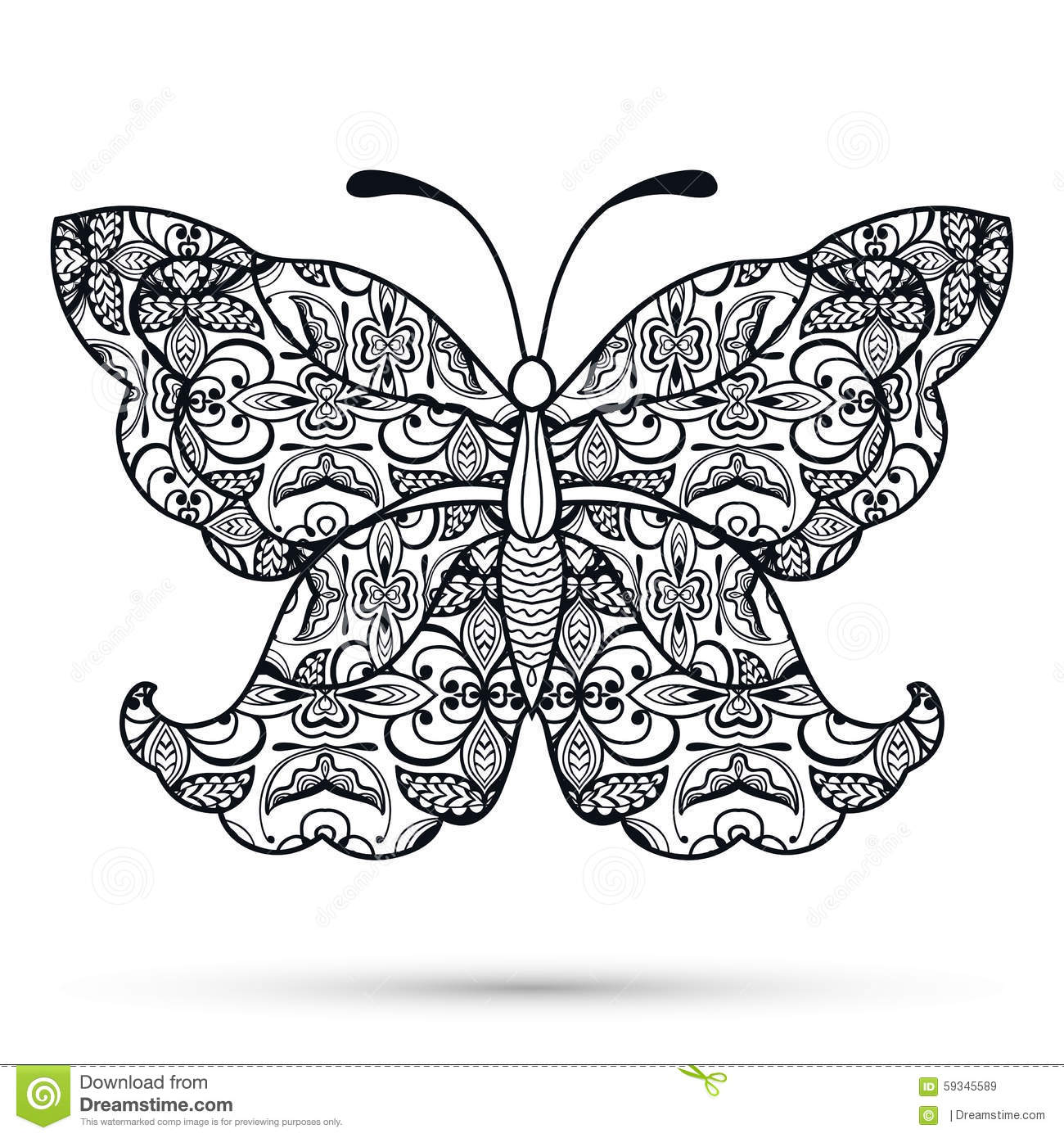 Black And White Decorative Butterfly