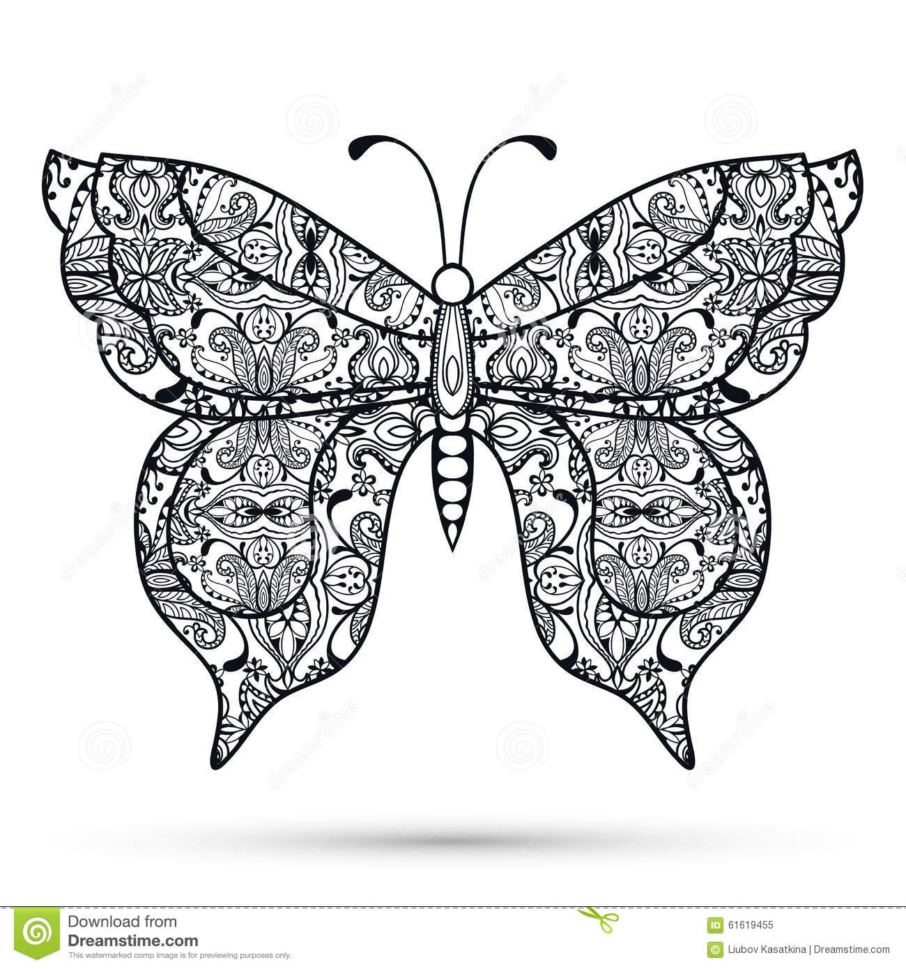 Black And White Decorative Butterfly Hand Drawn Stock
