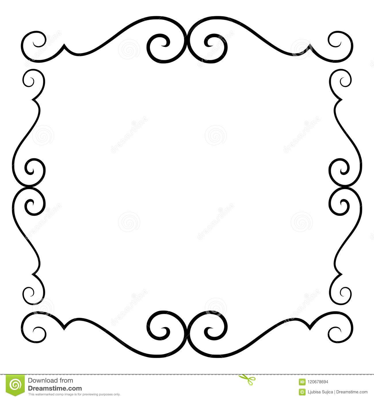 Decorative Black Flower Border Stock Image: Black White Decorative Background Stock Illustrations
