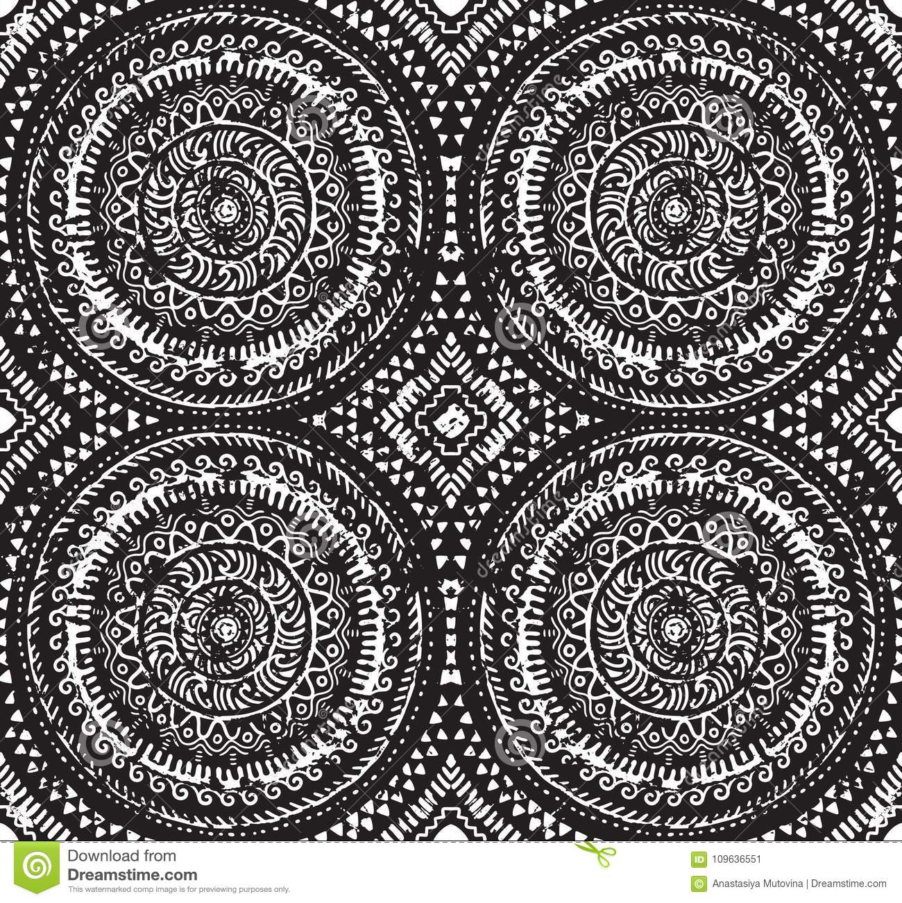 Abstract ink african seamless pattern circle design for fashion fabric knit textile batic