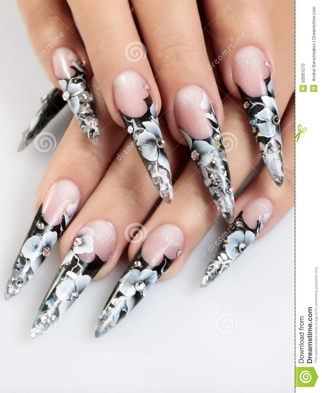 Black And White Design Nails Stock Photo Image Of Modern Girl