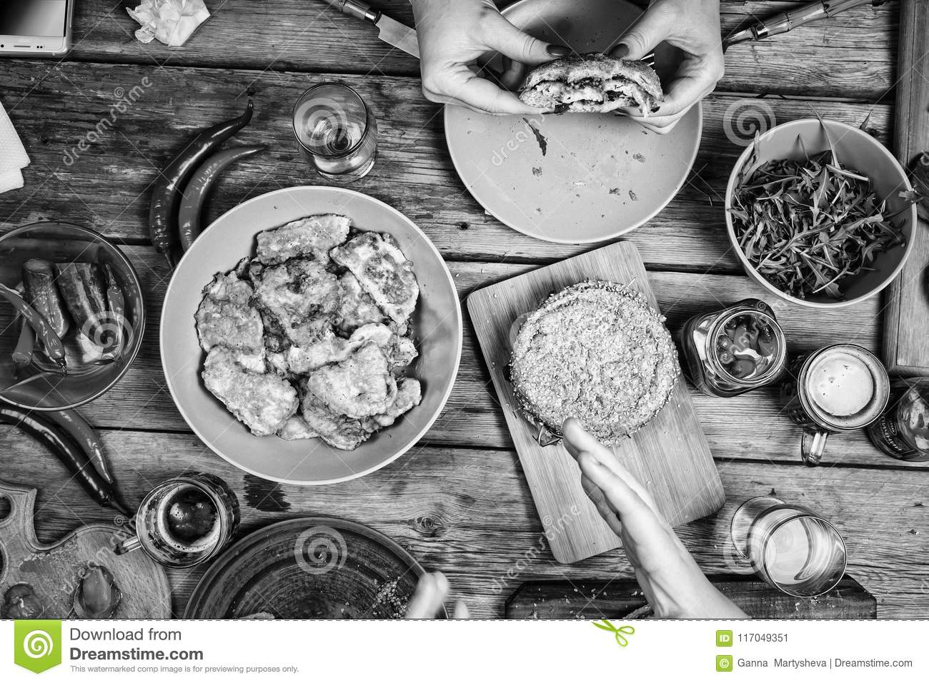 Black and white food party hamburger bbq table top view