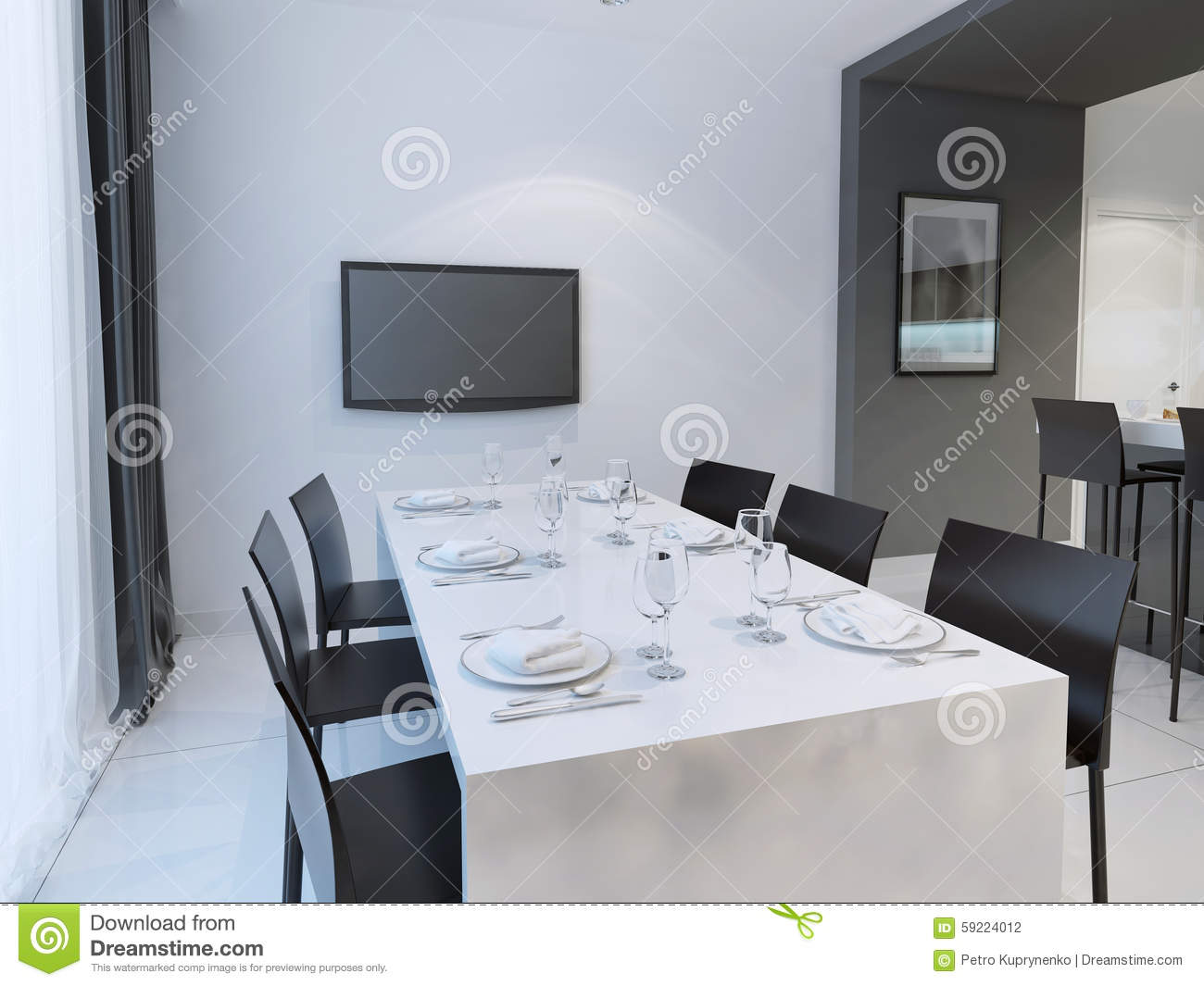 Black and white dining room trend dining with dining table set for six people hanging tv on the wall 3d render
