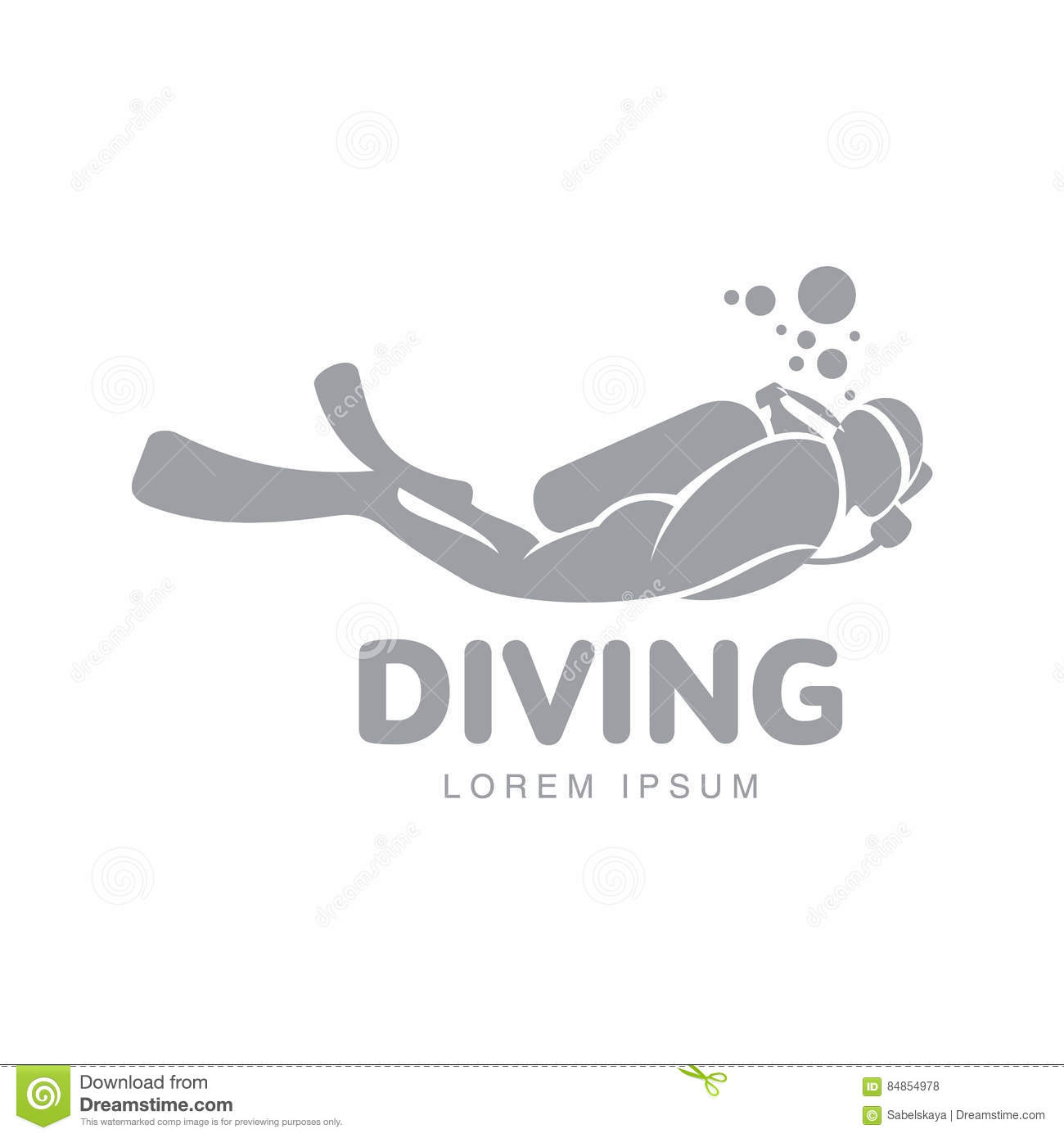 Black And White Diving Logo Template With Diver Swimming Underwater