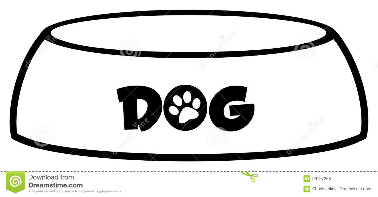 Black And White Dog Bowl Drawing Simple Design Stock