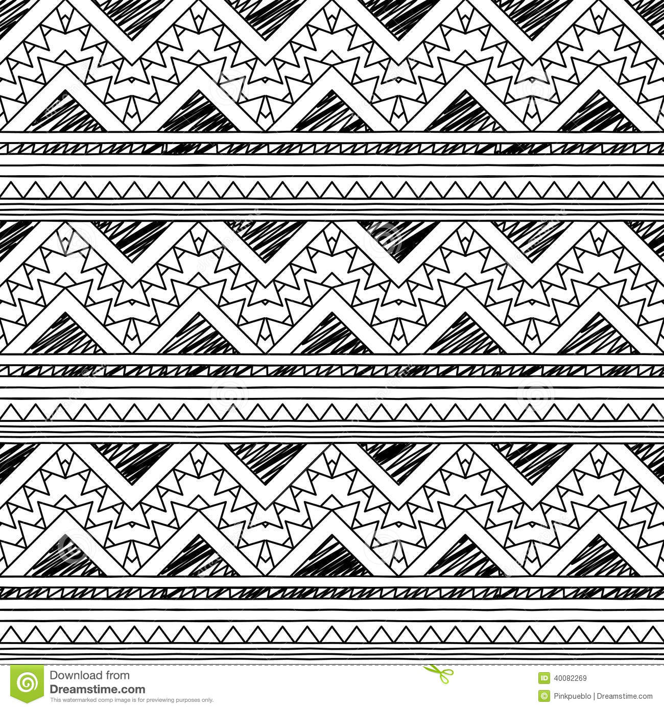 Tribal Pattern Wallpaper Black And White