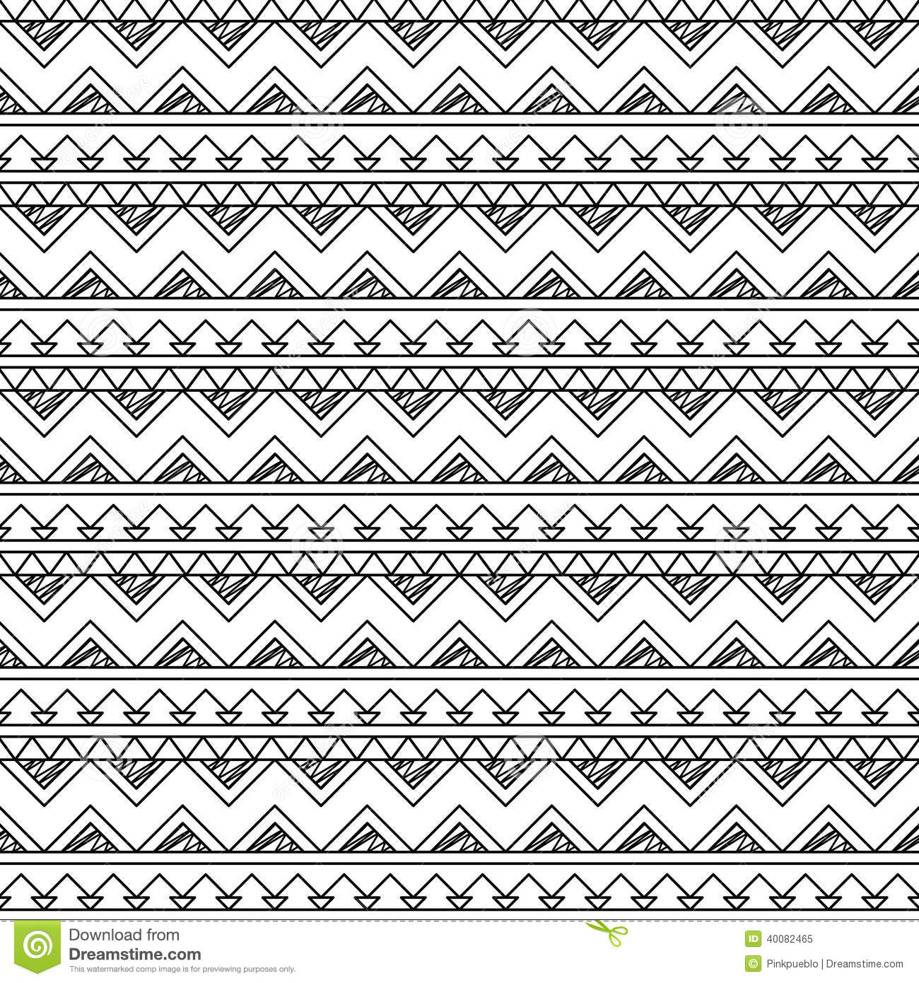 Black And White Doodle Style Seamless Tileable Tribal ...