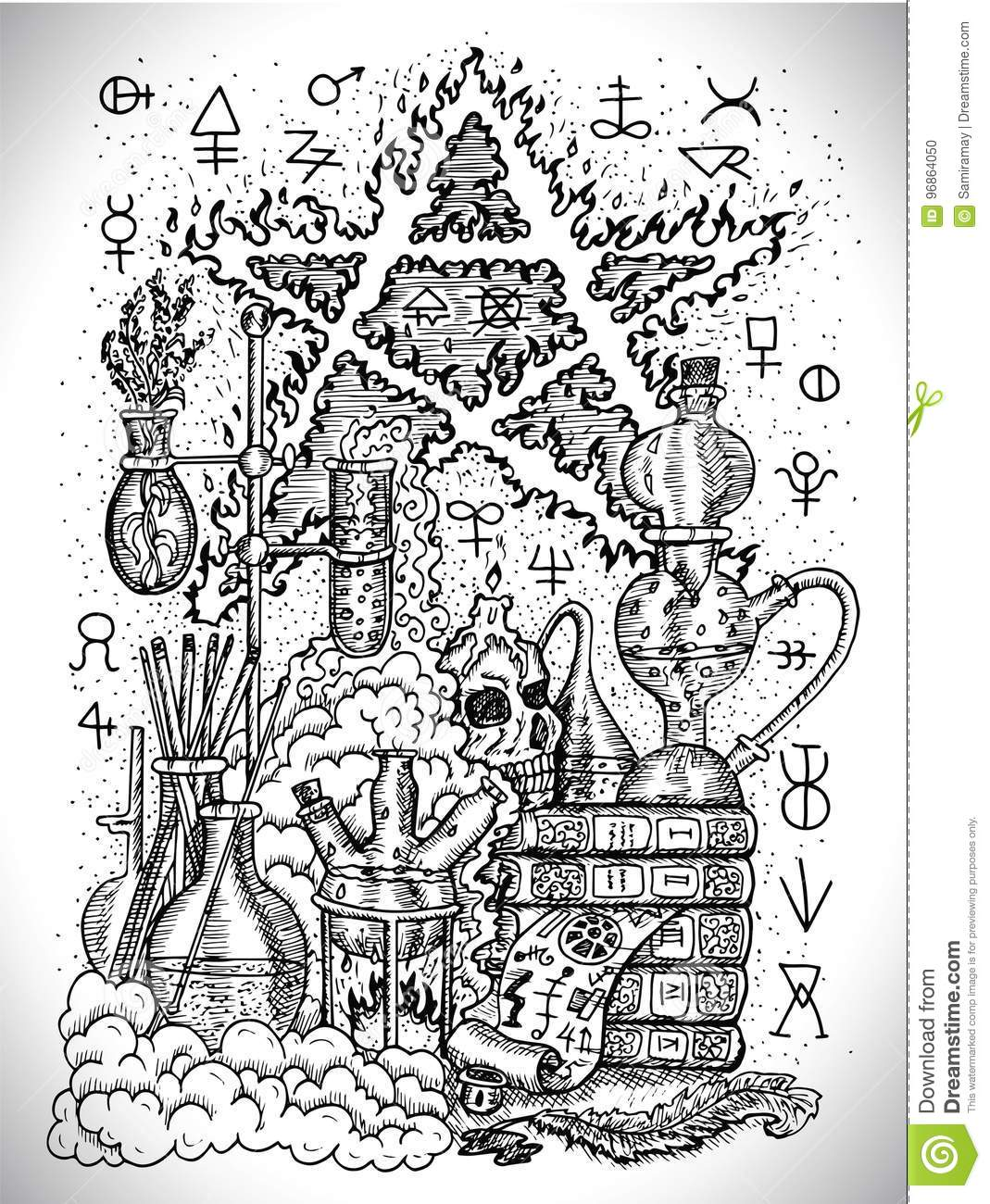 Black And White Drawing With Alchemical Symbols Skull Pentagram