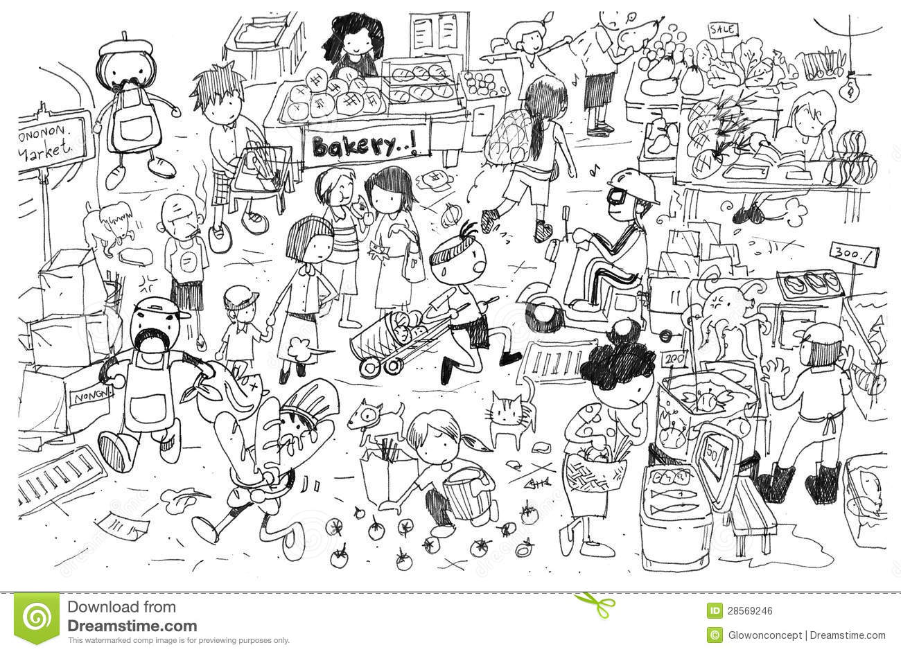 Black And White Drawing Of Busy Market Cartoon Royalty Free Stock ...