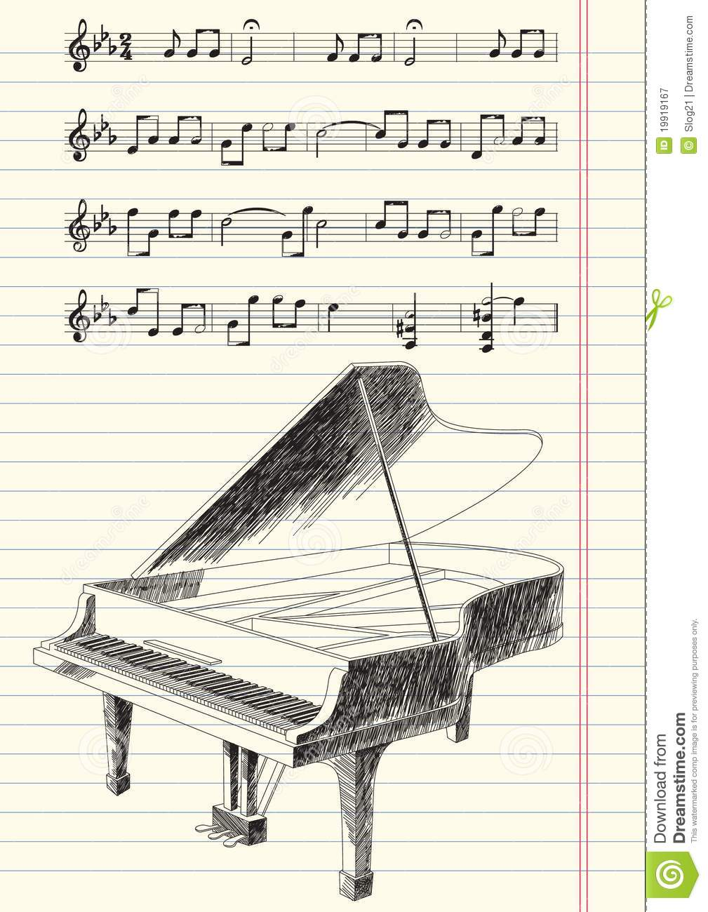 Black And White Drawing Of Grand Piano Royalty Free Stock Photography ...