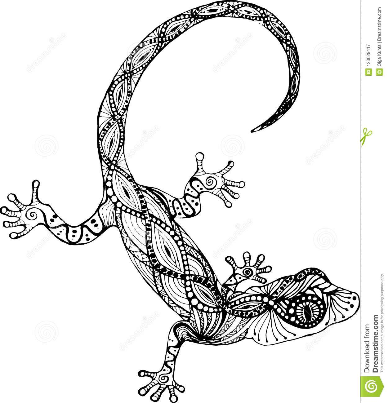 black white drawing lizard style zentangle tattoo lizard gecko style zentangle