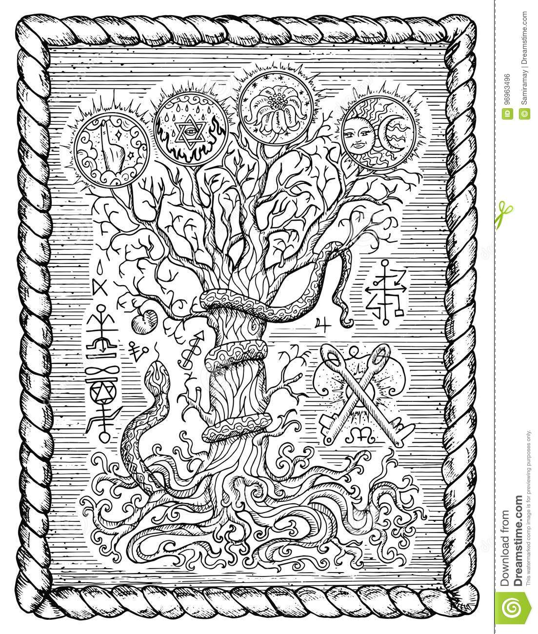 Black And White Drawing With Mystic And Christian Religious