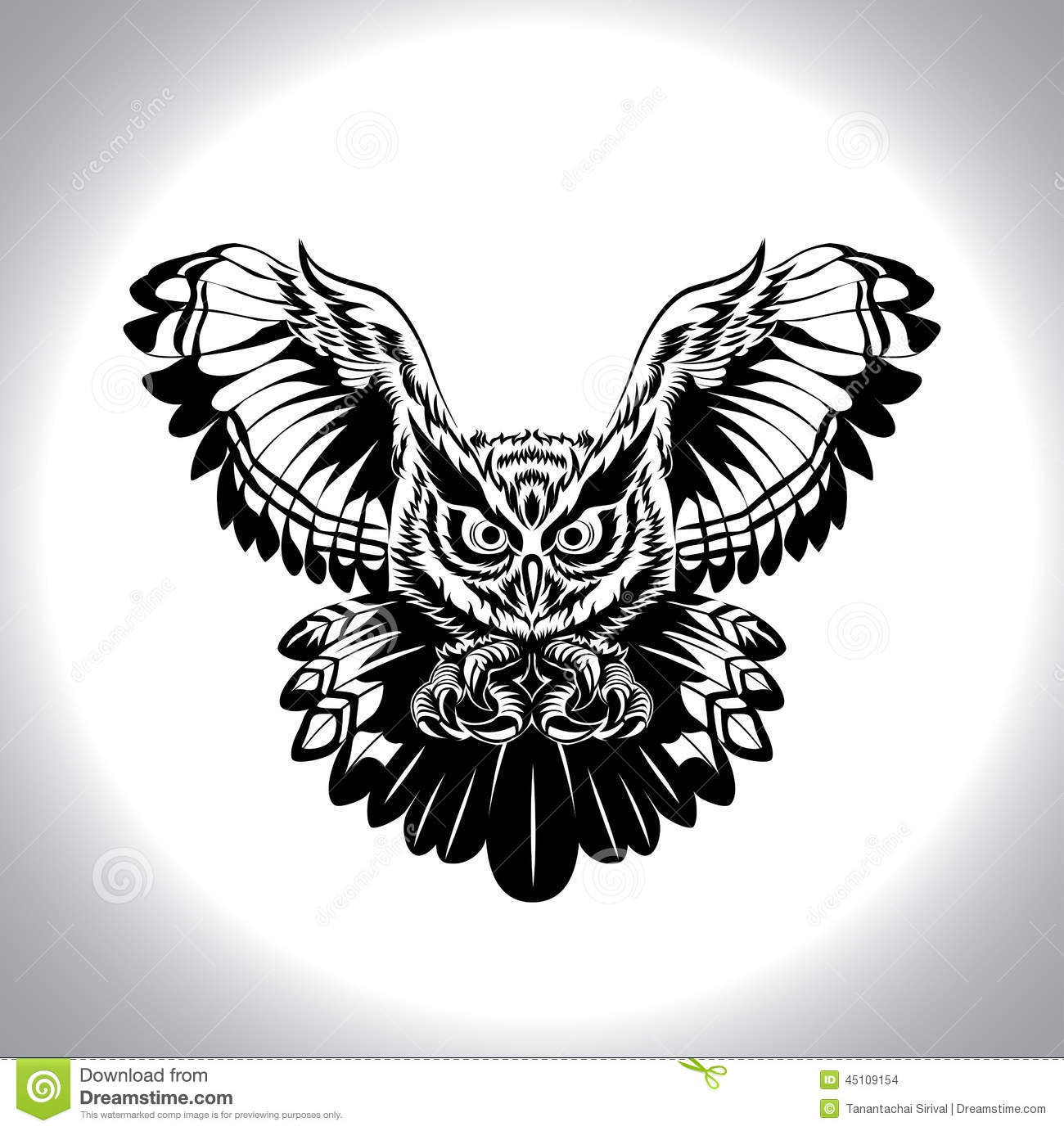 Black And White Drawing Owl Stock Vector Illustration Of