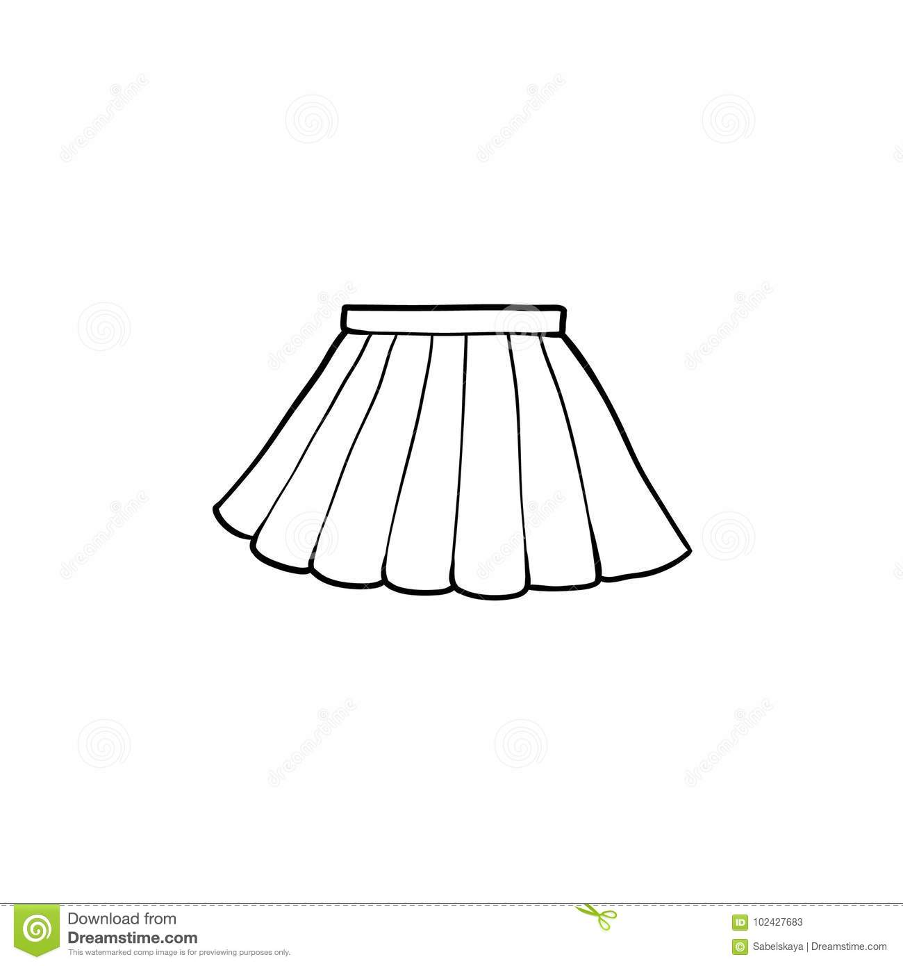6172708d45 Black and white drawing of pleated mini skirt, flat cartoon vector  illustration isolated on white background. hand drawn pleated mini skirt,  school uniform, ...