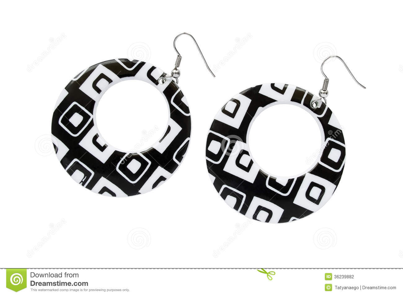 Black And White Earrings Stock Photo Image Of Round 36239882