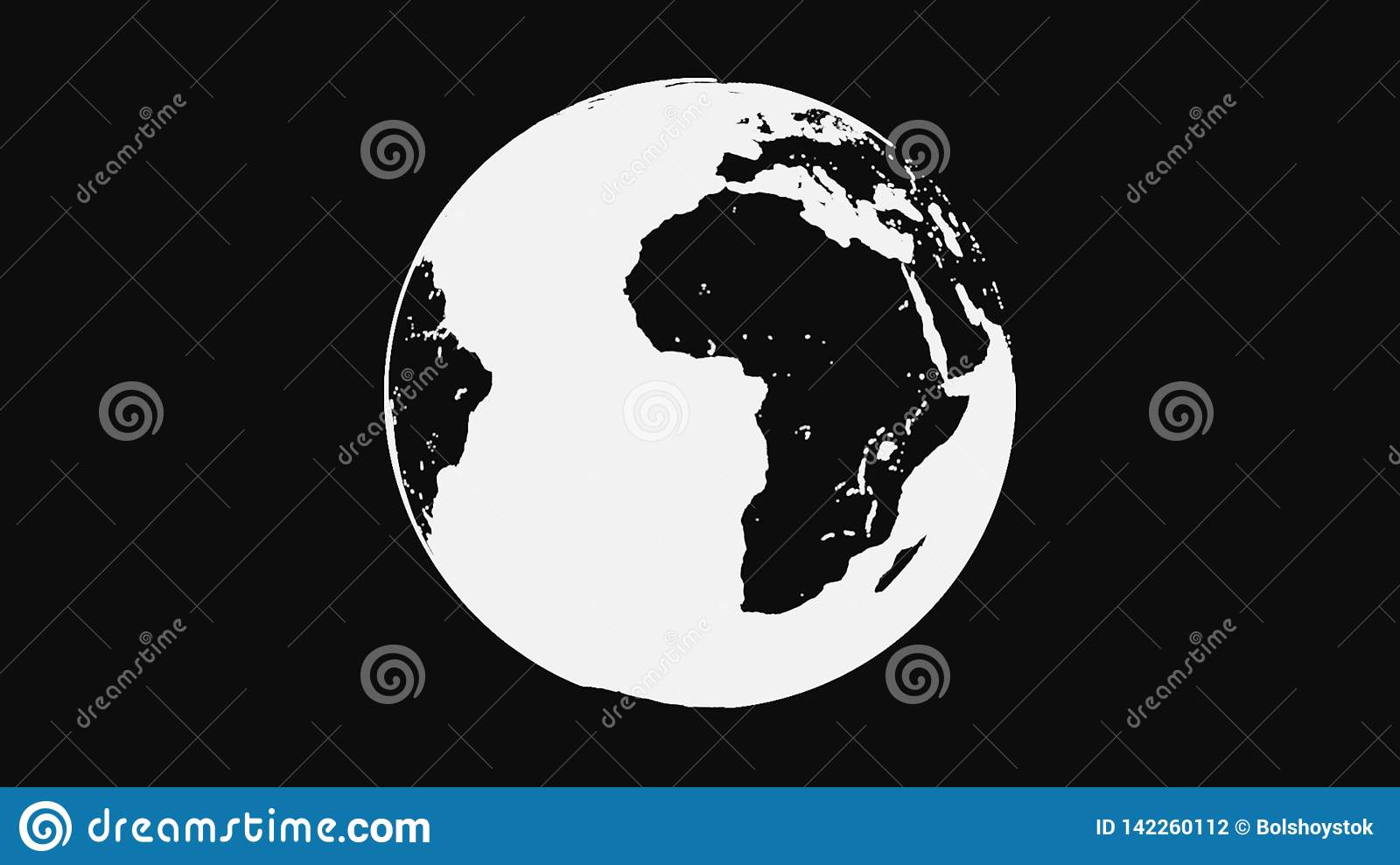 Black and white Earth planet rotating, isolated on black background. Abstract, monochrome terrestrial globe spinning