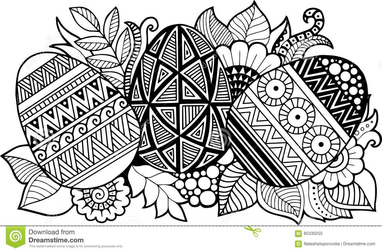 black white easter eggs isolated white abstract background made flowers easter eggs doodle ornamental design