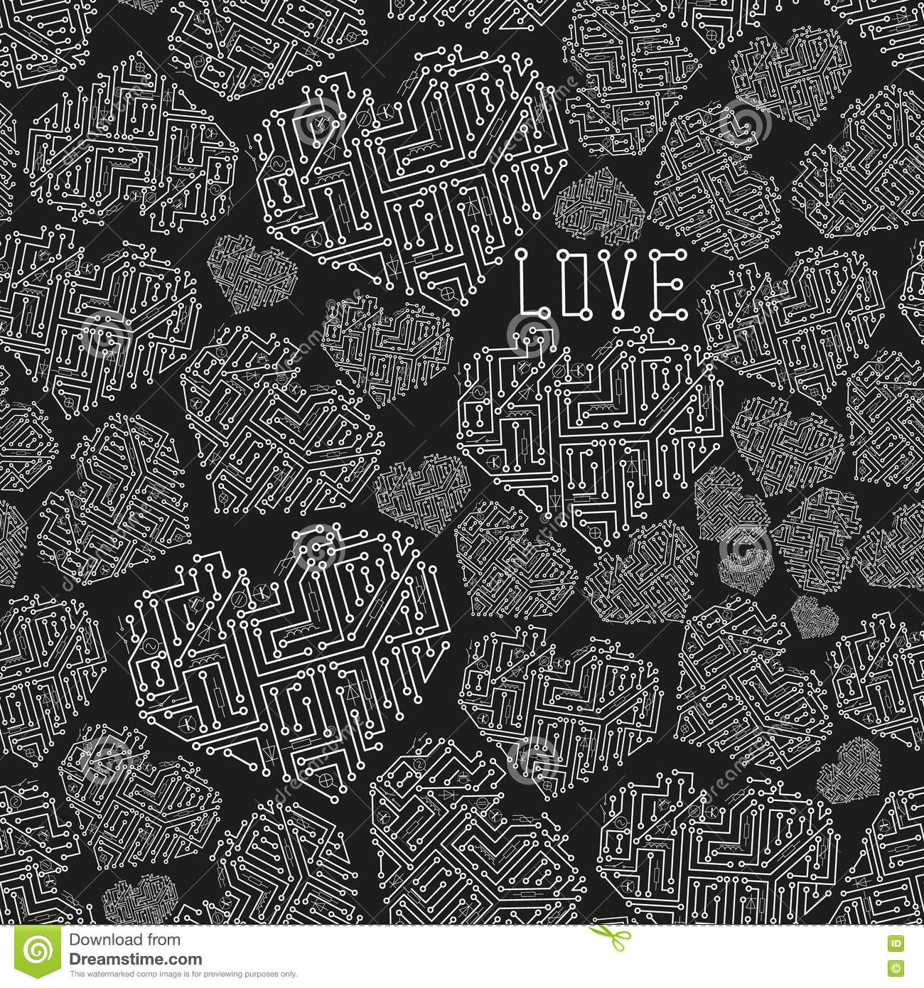 Black And White Electrical Circuit Board Heart Symbol Seamless ...