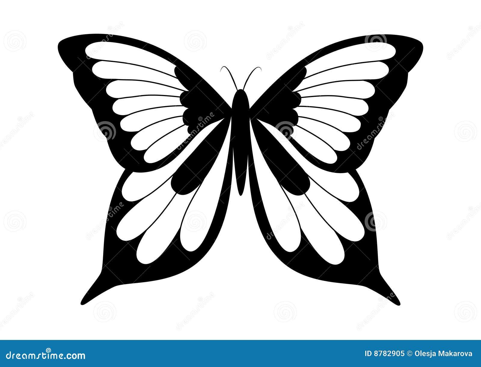 Gratis Kleurplaat Vlinder Black And White Elegant Butterfly Stock Vector