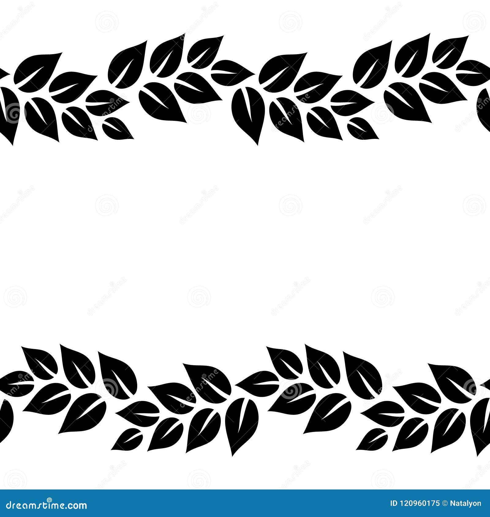 Black And White Elegant Leaves Seamless Border Frame Vector Stock Vector Illustration Of Ribbon Seamless 120960175