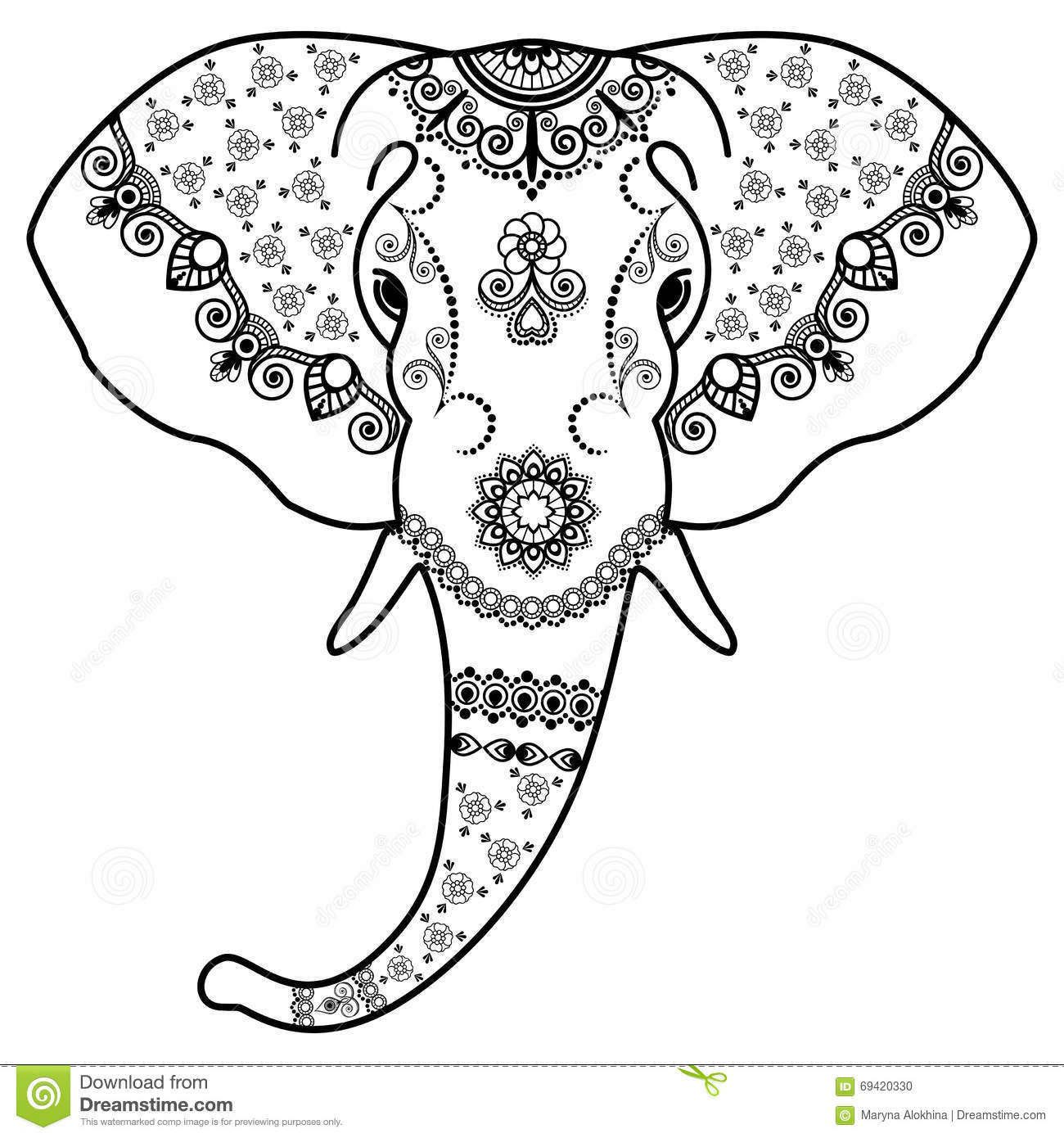 Black And White Elephant\'s Head In Mehndi Indian Style.Vector ...