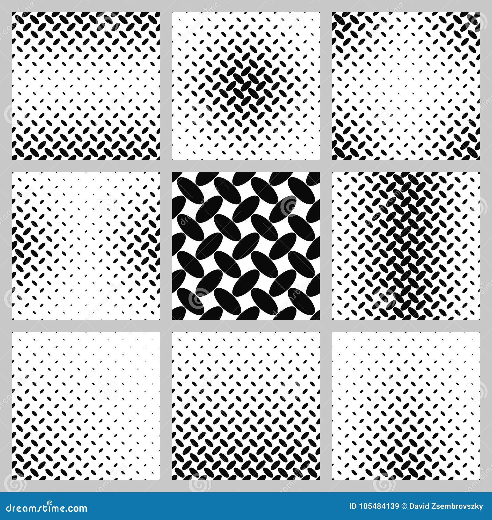 Black And White Ellipse Pattern Background Set Stock Vector ...