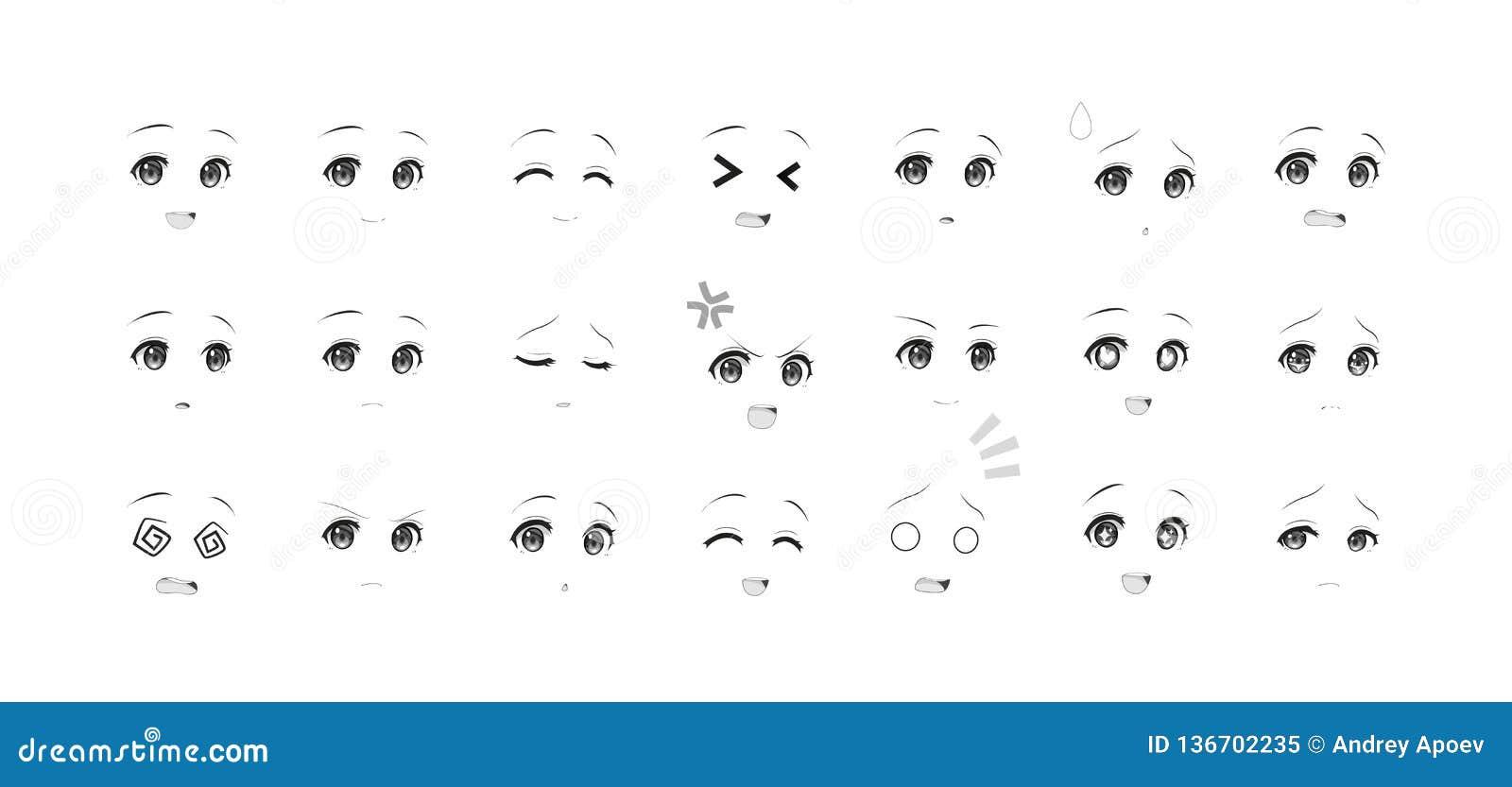 Black and white emotions eyes of anime manga girls