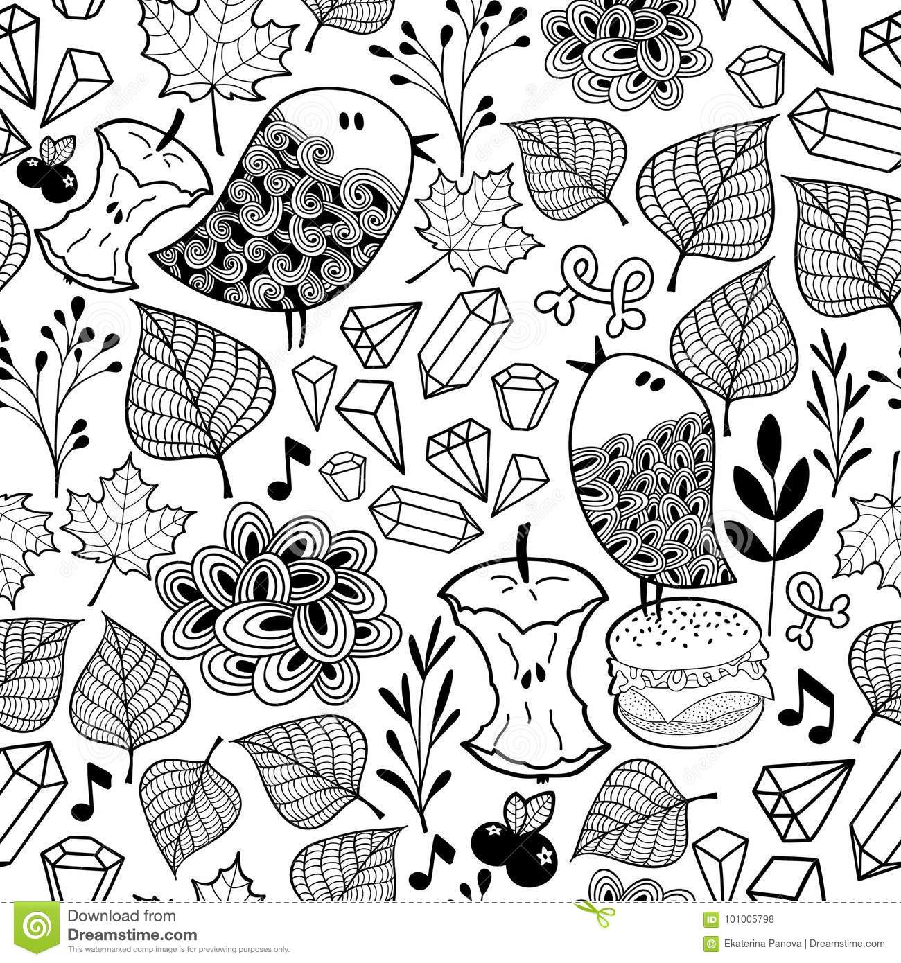 Black And White Endless Wallpaper With Cute Birds And Doodle Plants