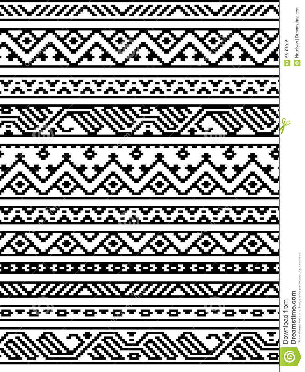 black and white ethnic geometric aztec seamless borders pattern vector stock vector. Black Bedroom Furniture Sets. Home Design Ideas