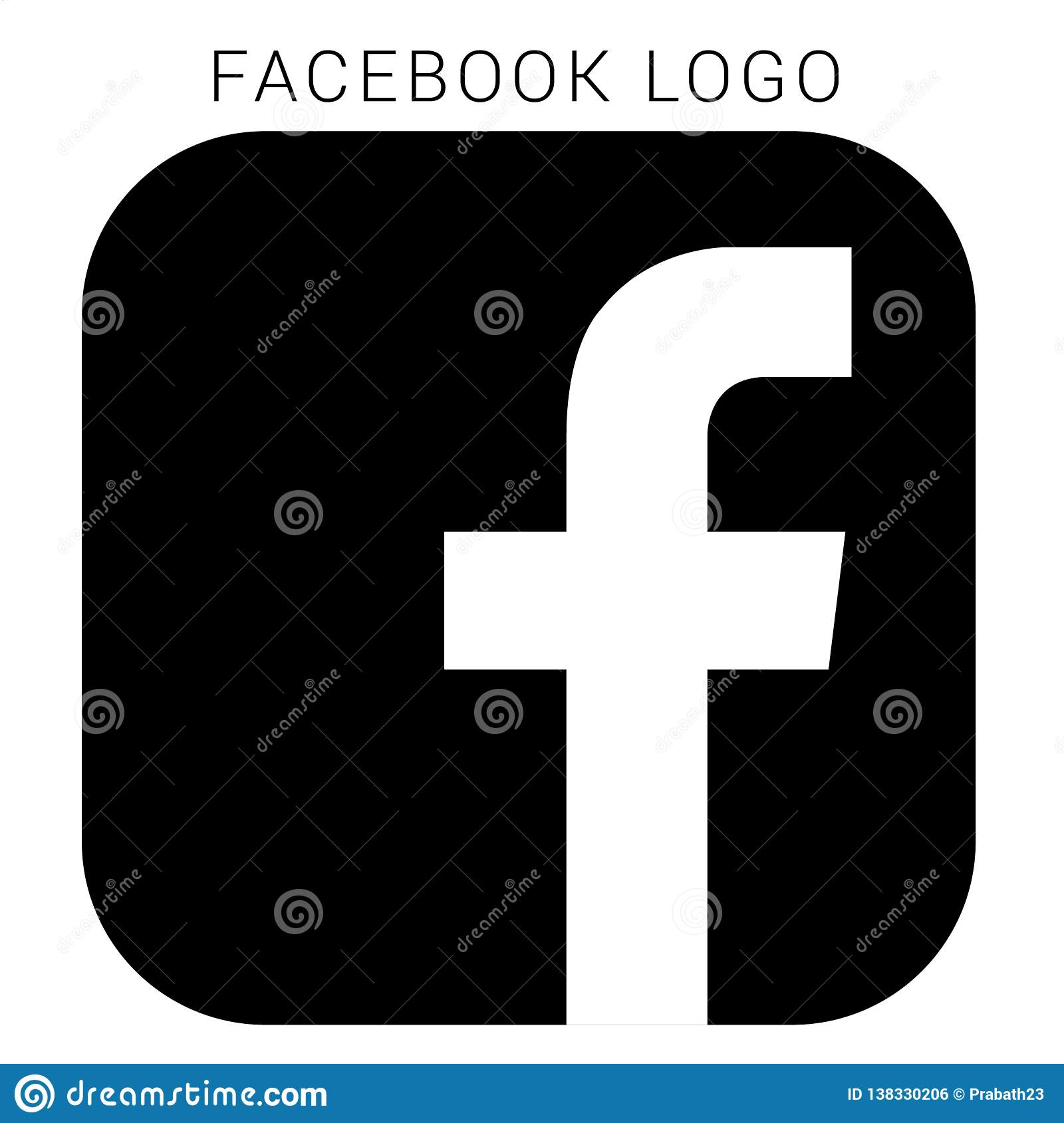 Facebook Logo With Vector Ai File Squared Black White Editorial Photo Illustration Of Social Rounded 138330206
